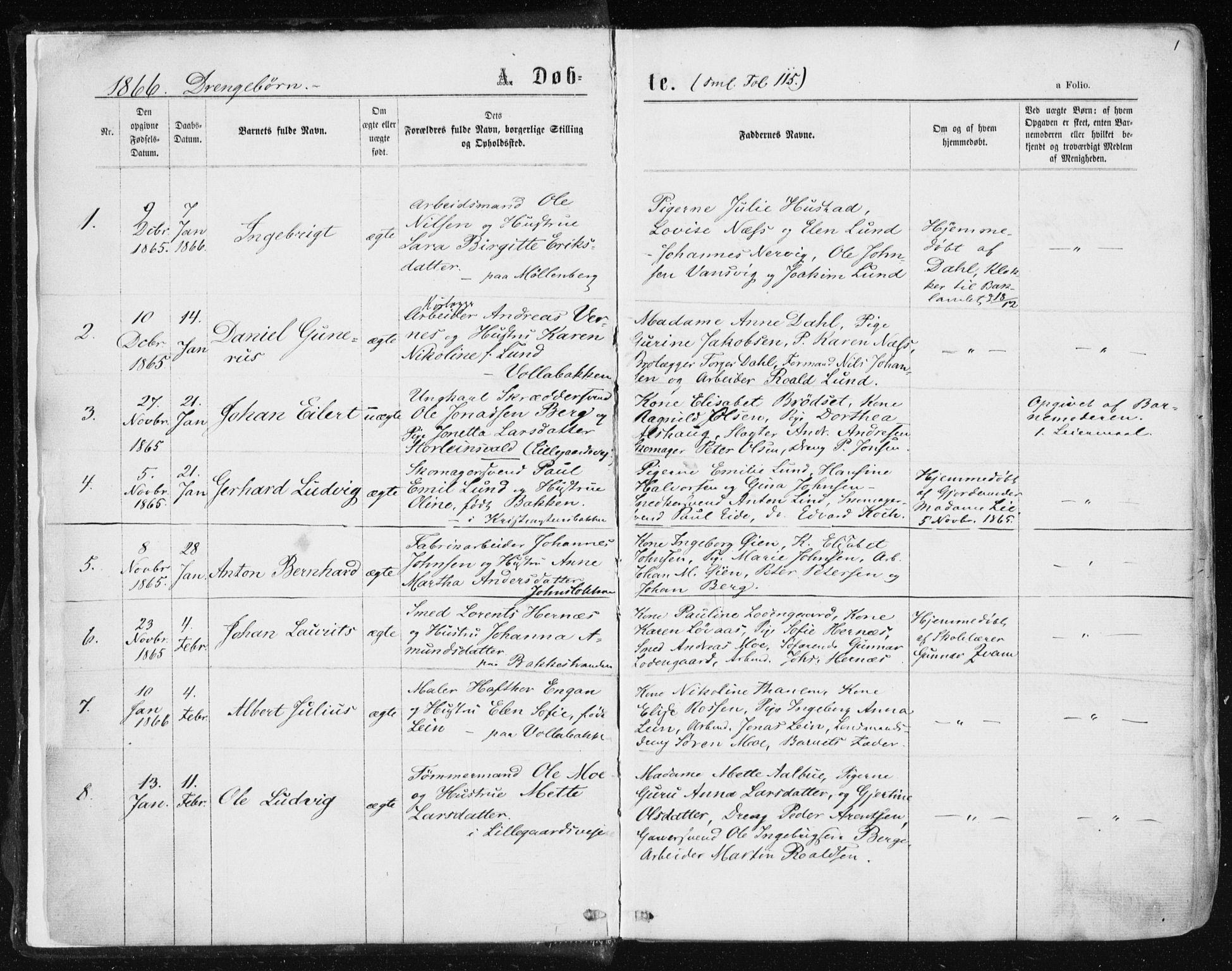 SAT, Ministerialprotokoller, klokkerbøker og fødselsregistre - Sør-Trøndelag, 604/L0186: Ministerialbok nr. 604A07, 1866-1877, s. 1