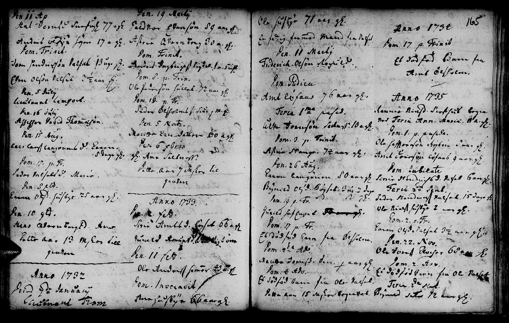 SAT, Ministerialprotokoller, klokkerbøker og fødselsregistre - Sør-Trøndelag, 666/L0783: Ministerialbok nr. 666A01, 1702-1753, s. 165