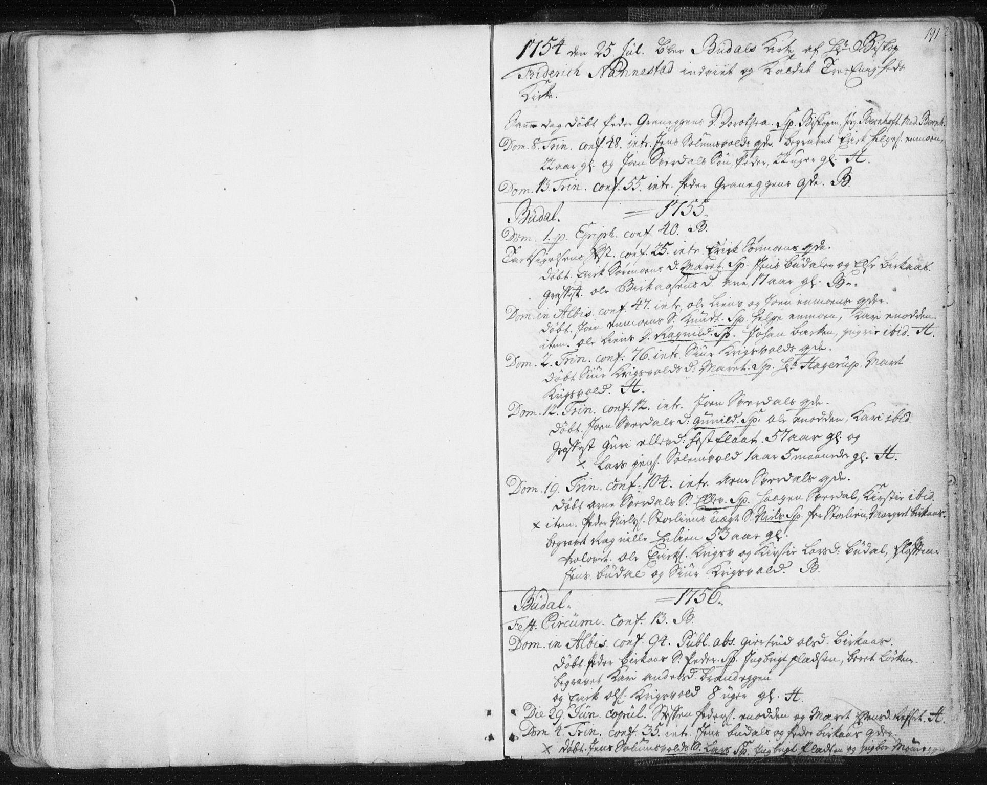SAT, Ministerialprotokoller, klokkerbøker og fødselsregistre - Sør-Trøndelag, 687/L0991: Ministerialbok nr. 687A02, 1747-1790, s. 191