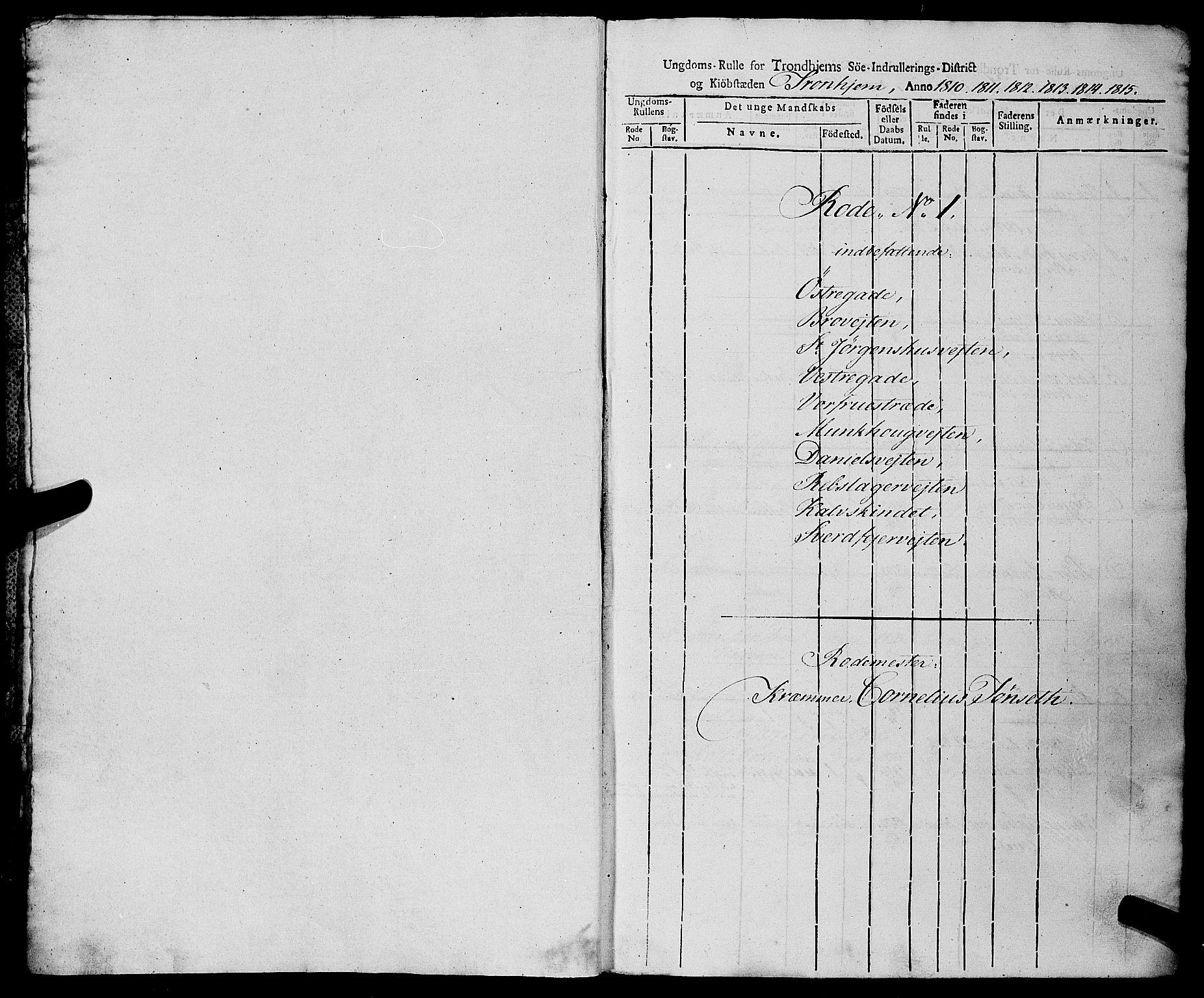 SAT, Sjøinnrulleringen - Trondhjemske distrikt, 01/L0019: Rulle over Trondhjem distrikt, 1810-1815