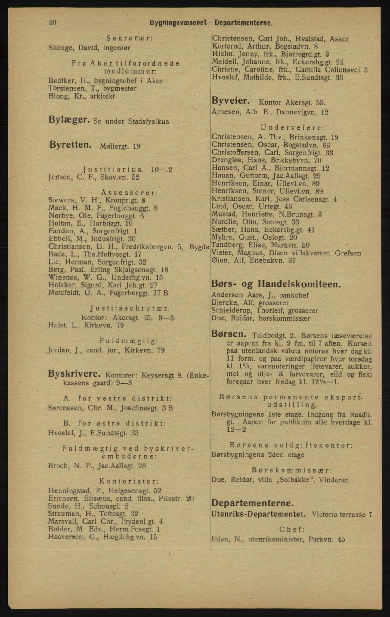 RA, Kristiania adressebok (publikasjon)*, 1913, s. 40