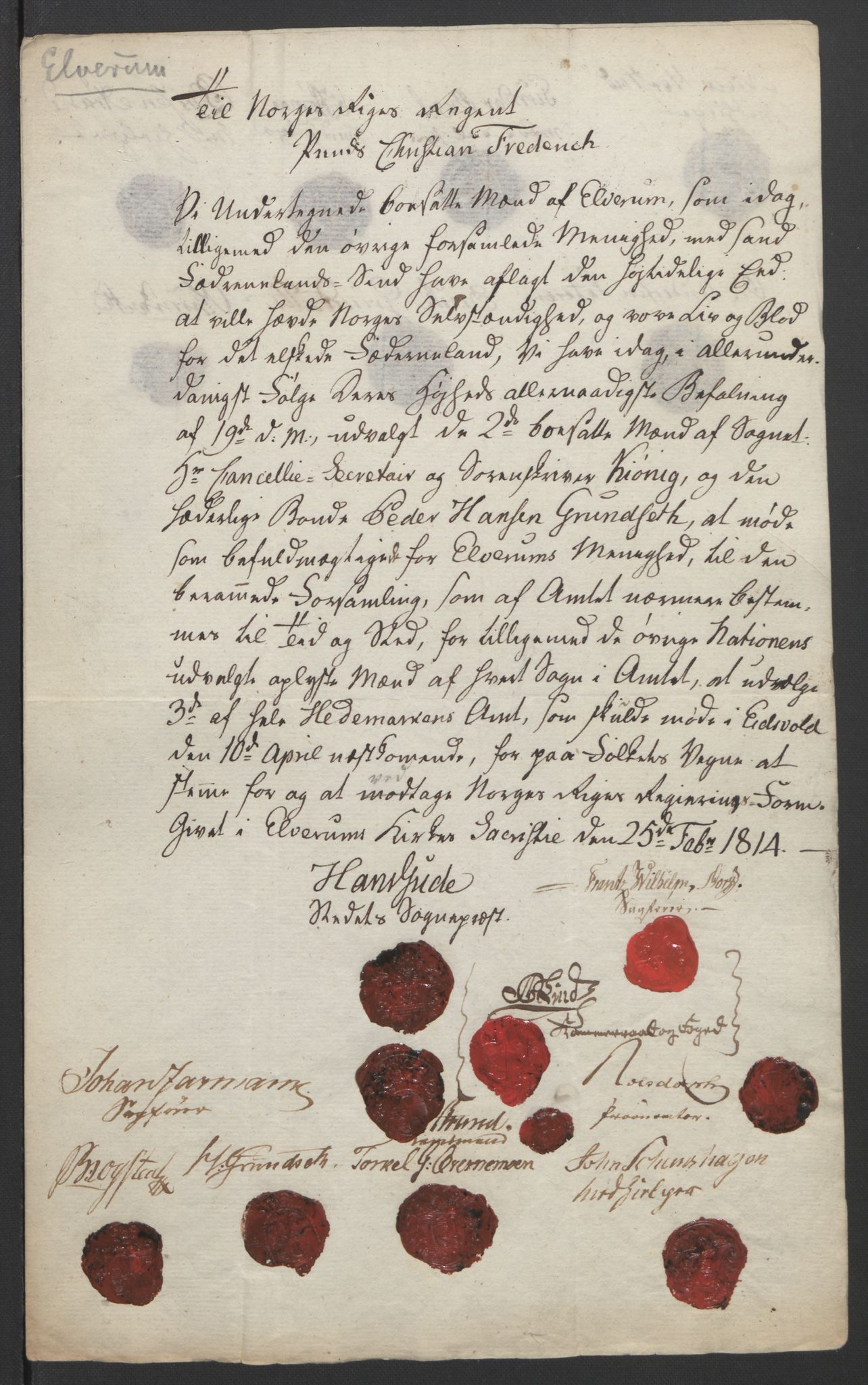 RA, Statsrådssekretariatet, D/Db/L0007: Fullmakter for Eidsvollsrepresentantene i 1814. , 1814, s. 219