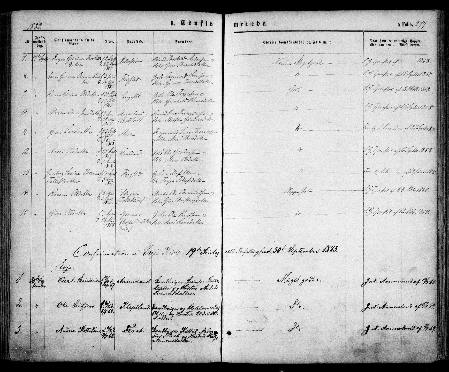 SAK, Evje sokneprestkontor, F/Fa/Faa/L0006: Ministerialbok nr. A 6, 1866-1884, s. 277
