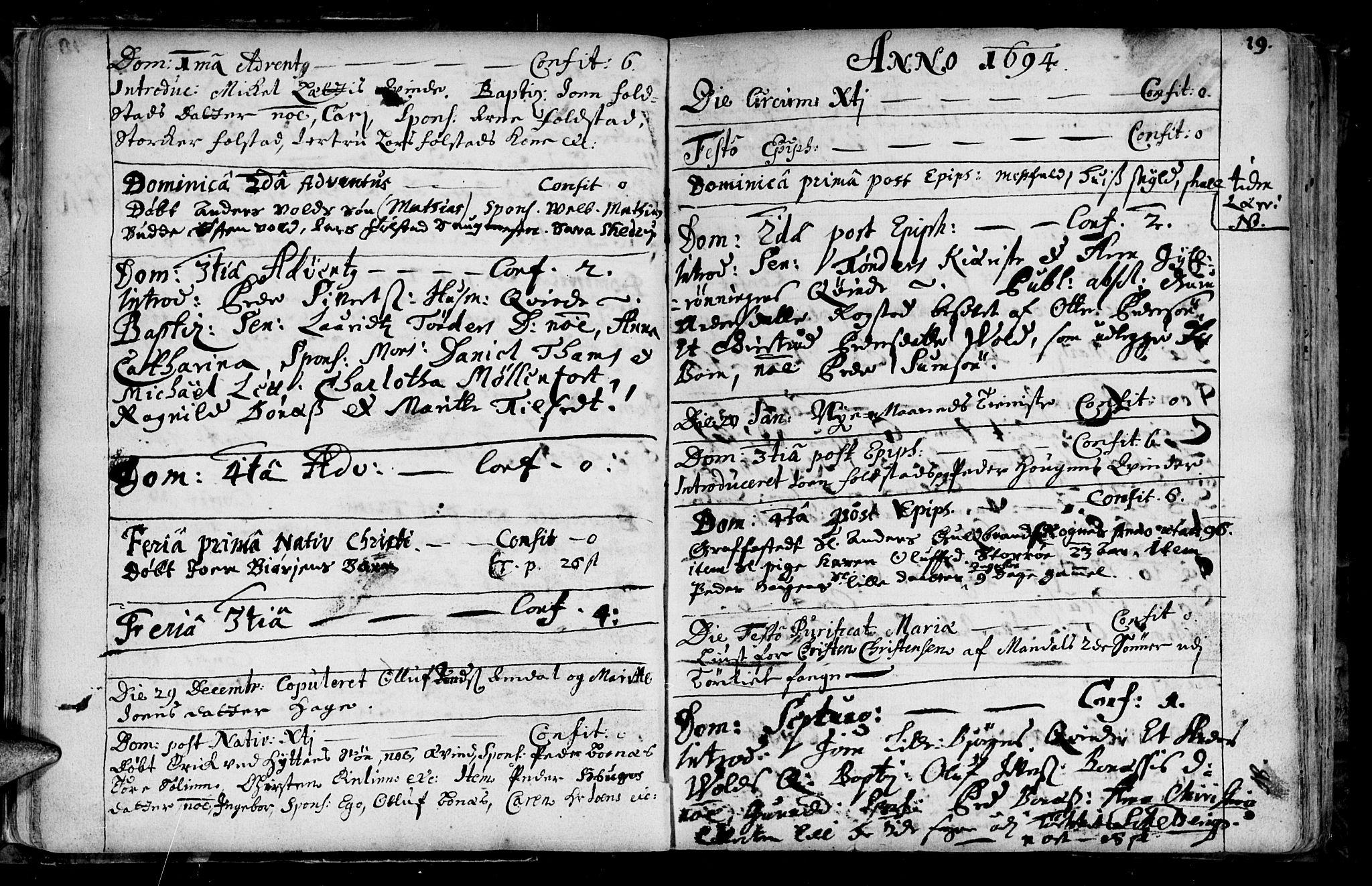 SAT, Ministerialprotokoller, klokkerbøker og fødselsregistre - Sør-Trøndelag, 687/L0990: Ministerialbok nr. 687A01, 1690-1746, s. 19