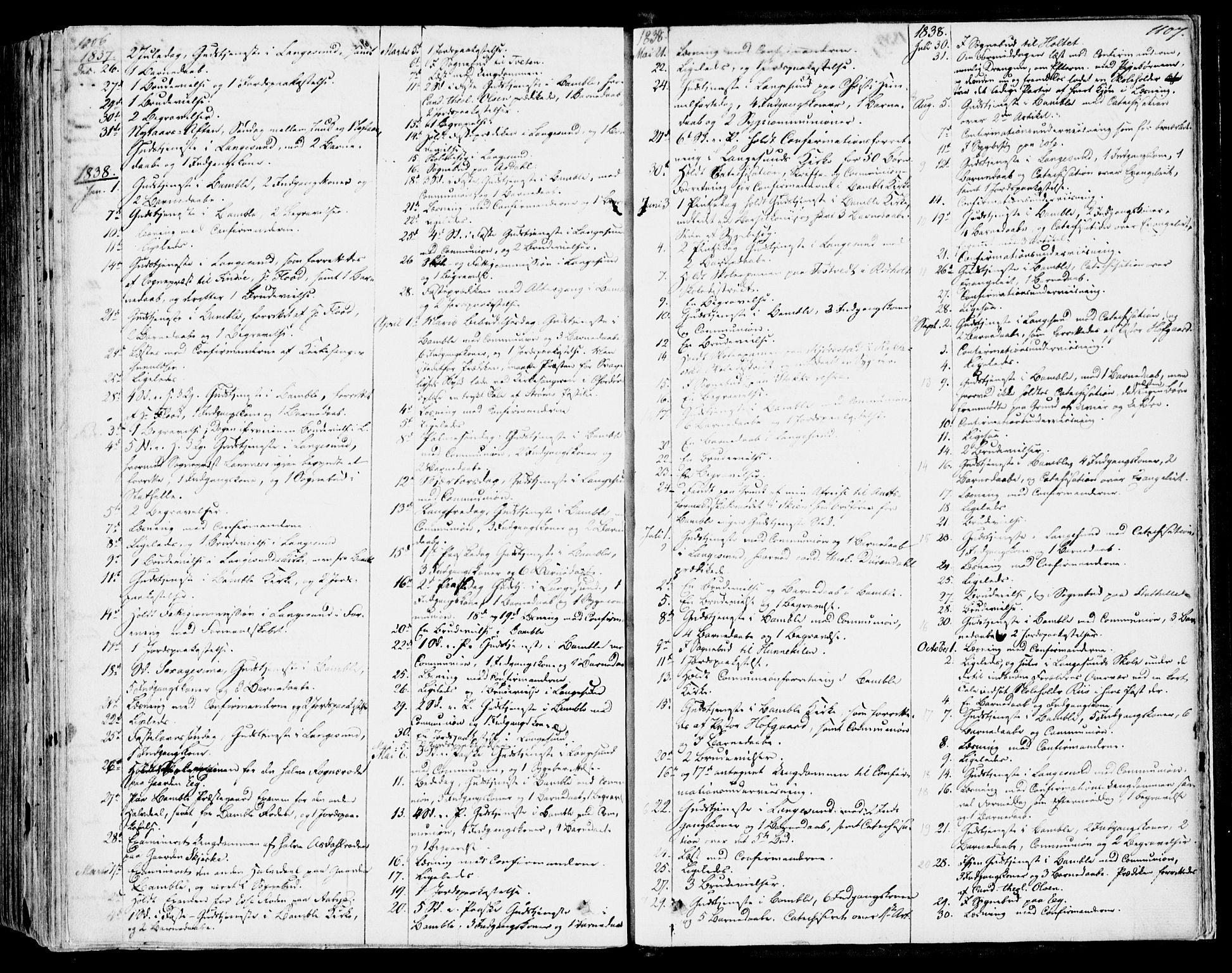 SAKO, Bamble kirkebøker, F/Fa/L0004: Ministerialbok nr. I 4, 1834-1853, s. 1106-1107