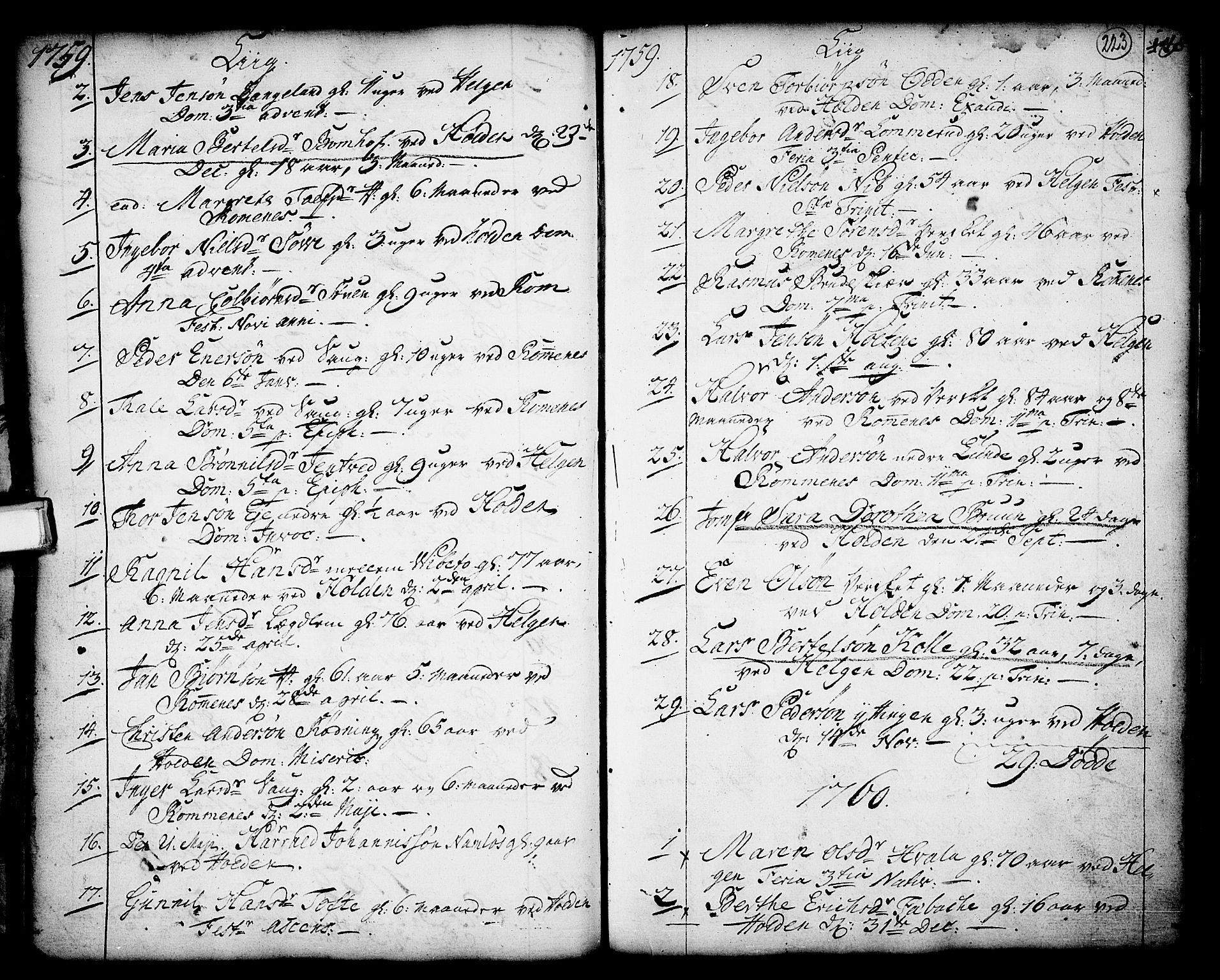 SAKO, Holla kirkebøker, F/Fa/L0001: Ministerialbok nr. 1, 1717-1779, s. 223