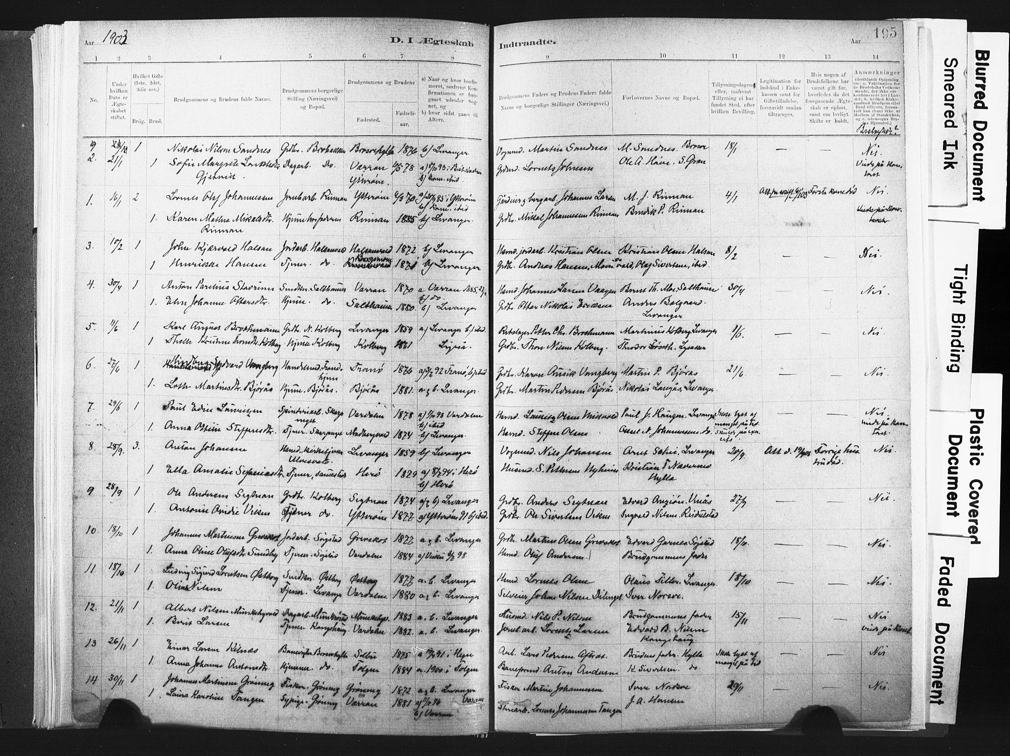SAT, Ministerialprotokoller, klokkerbøker og fødselsregistre - Nord-Trøndelag, 721/L0207: Ministerialbok nr. 721A02, 1880-1911, s. 195