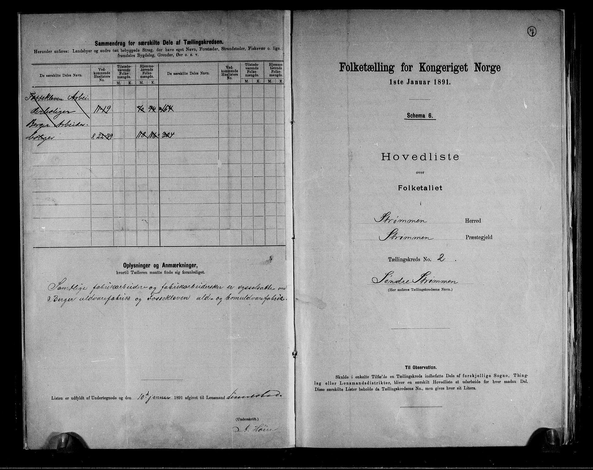 RA, Folketelling 1891 for 0711 Strømm herred, 1891, s. 7