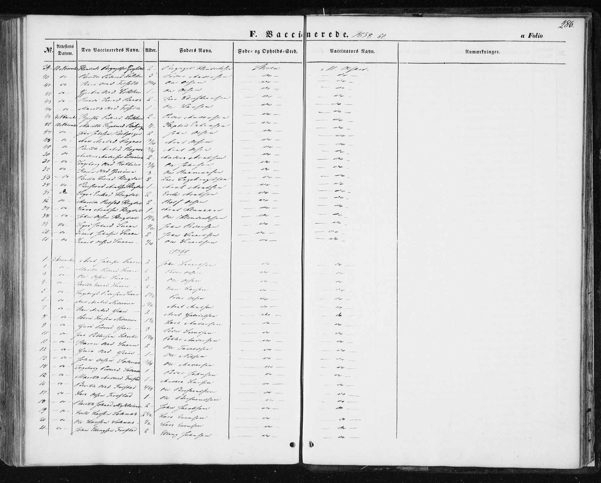 SAT, Ministerialprotokoller, klokkerbøker og fødselsregistre - Sør-Trøndelag, 687/L1000: Ministerialbok nr. 687A06, 1848-1869, s. 286