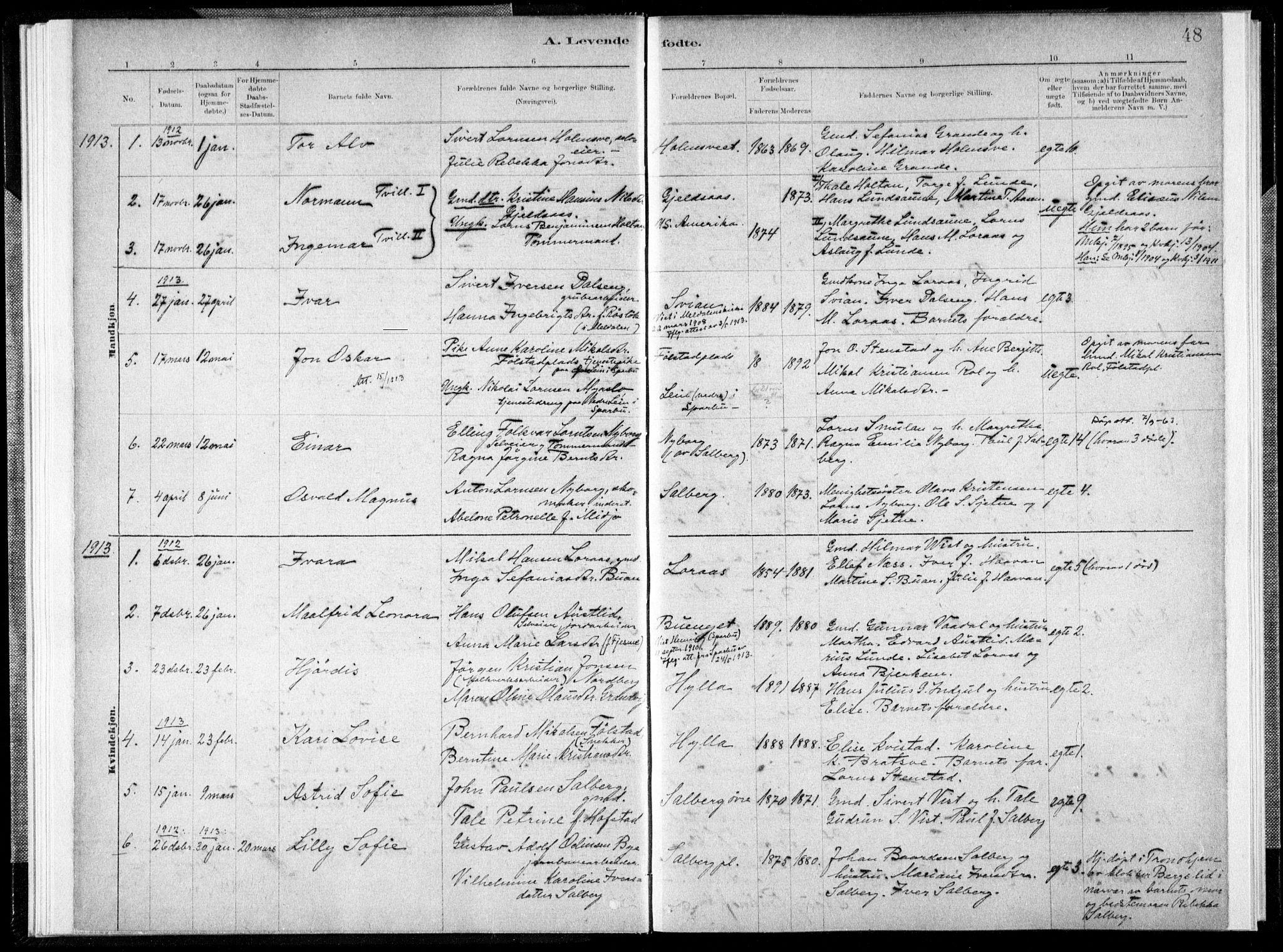 SAT, Ministerialprotokoller, klokkerbøker og fødselsregistre - Nord-Trøndelag, 731/L0309: Ministerialbok nr. 731A01, 1879-1918, s. 48