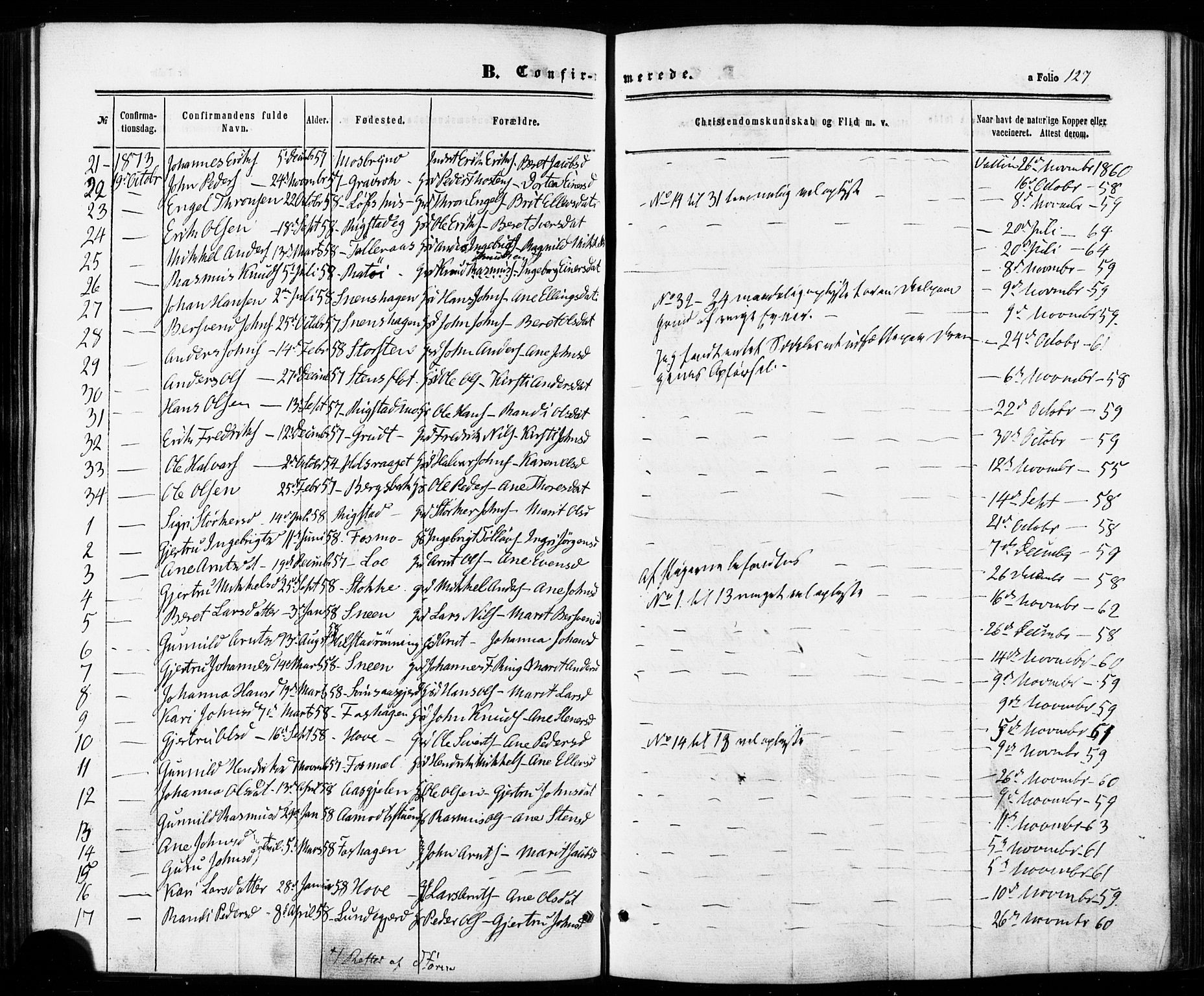 SAT, Ministerialprotokoller, klokkerbøker og fødselsregistre - Sør-Trøndelag, 672/L0856: Ministerialbok nr. 672A08, 1861-1881, s. 127