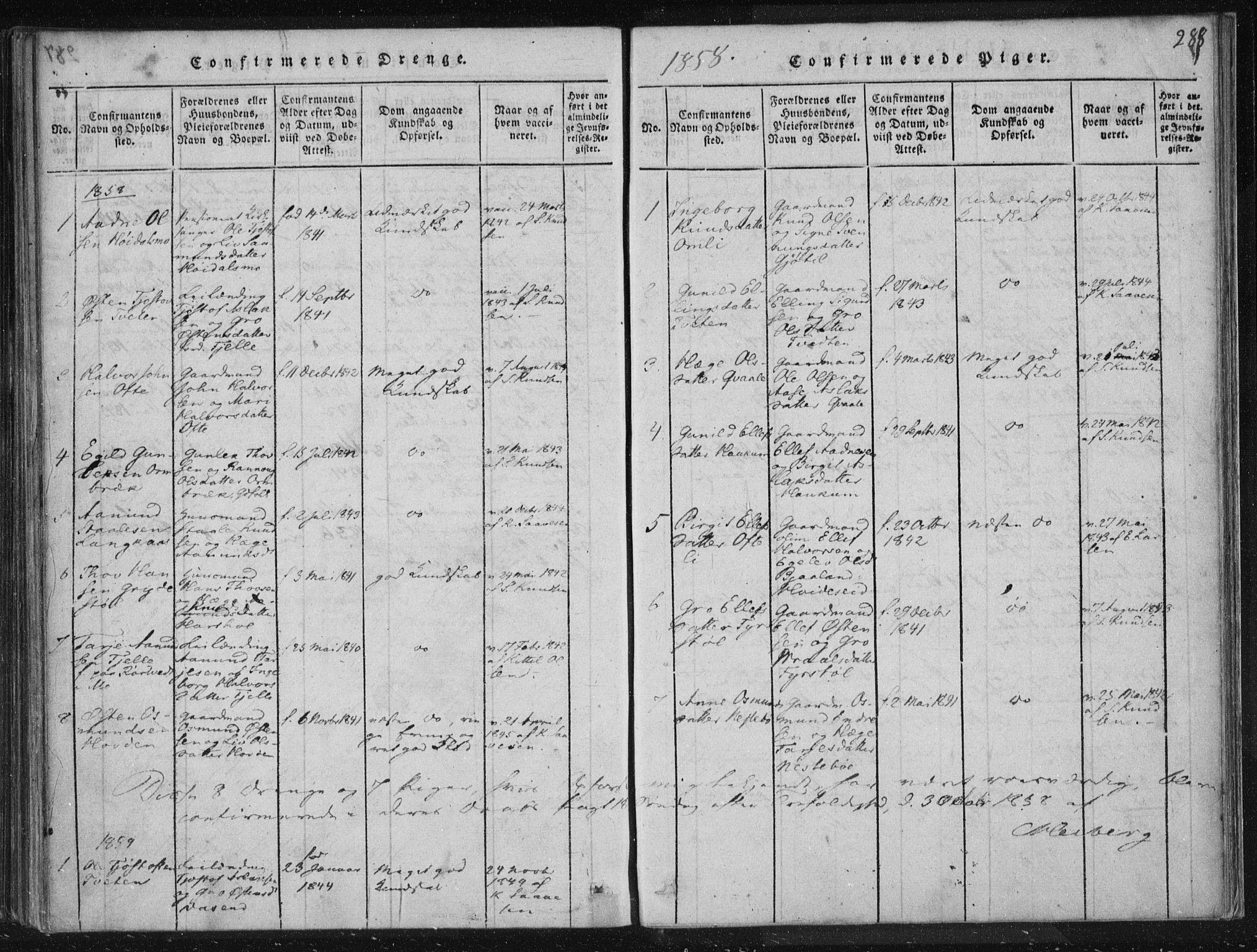 SAKO, Lårdal kirkebøker, F/Fc/L0001: Ministerialbok nr. III 1, 1815-1860, s. 288