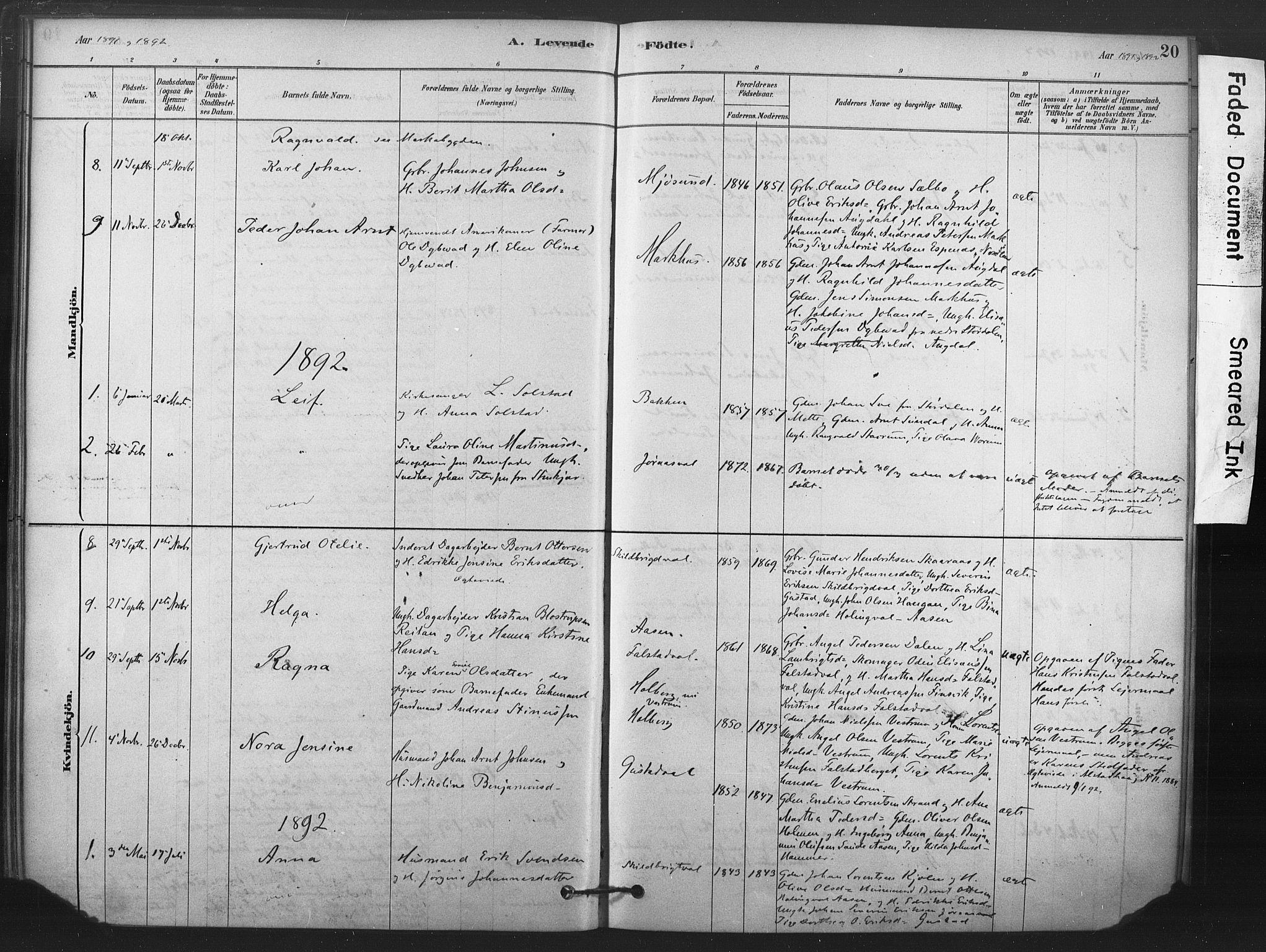 SAT, Ministerialprotokoller, klokkerbøker og fødselsregistre - Nord-Trøndelag, 719/L0178: Ministerialbok nr. 719A01, 1878-1900, s. 20