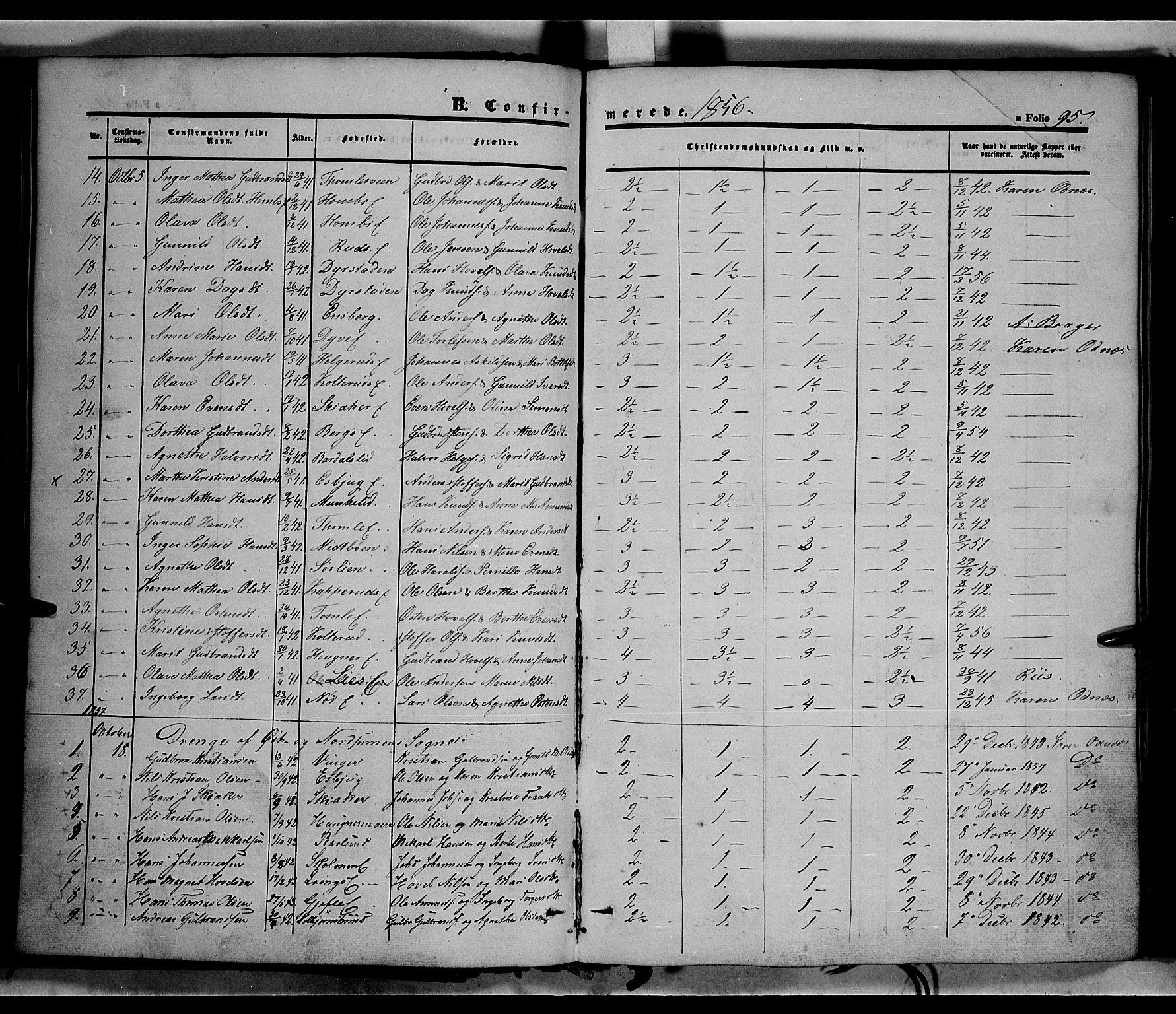 SAH, Land prestekontor, Ministerialbok nr. 10, 1847-1859, s. 95