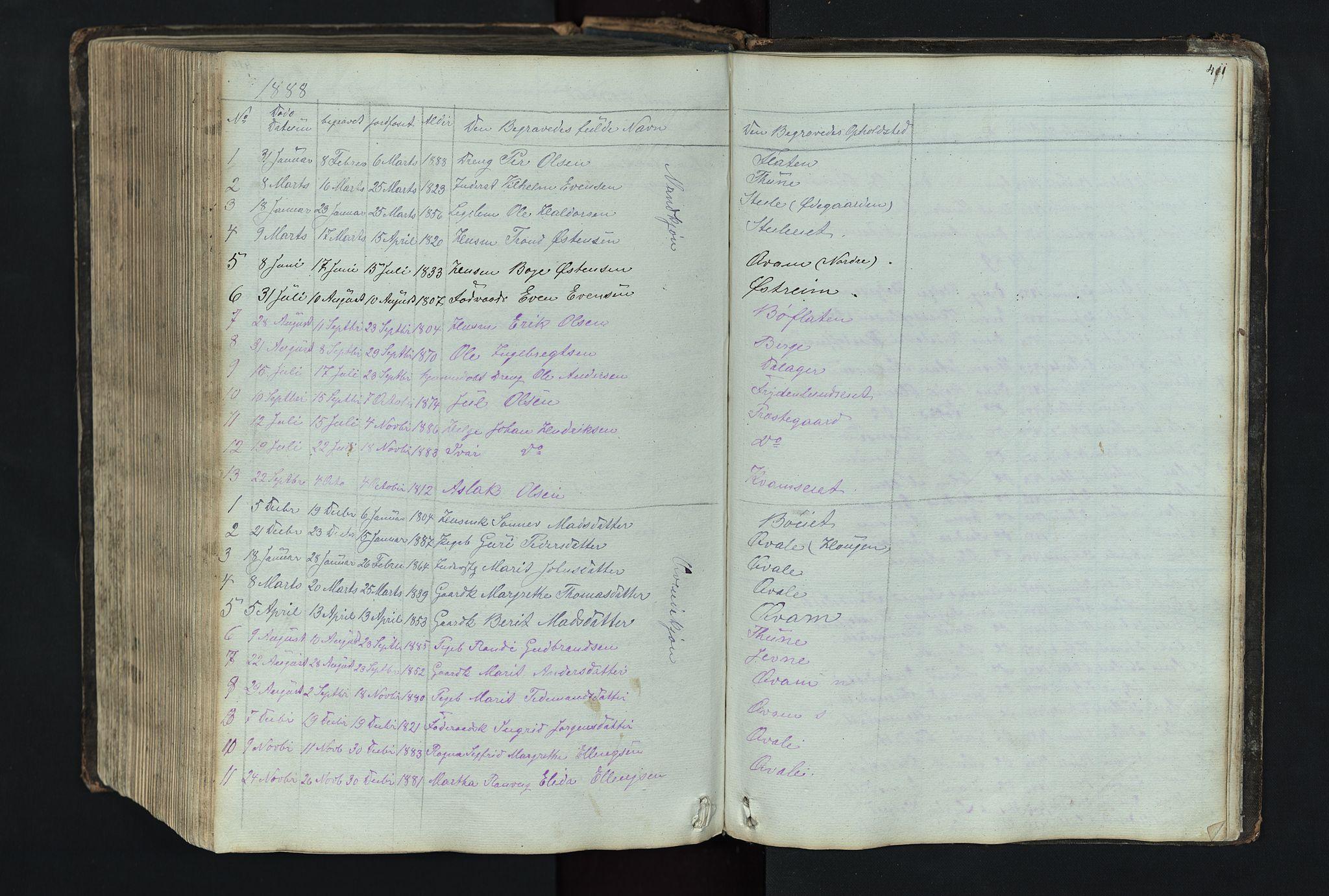 SAH, Vang prestekontor, Valdres, Klokkerbok nr. 4, 1835-1892, s. 411