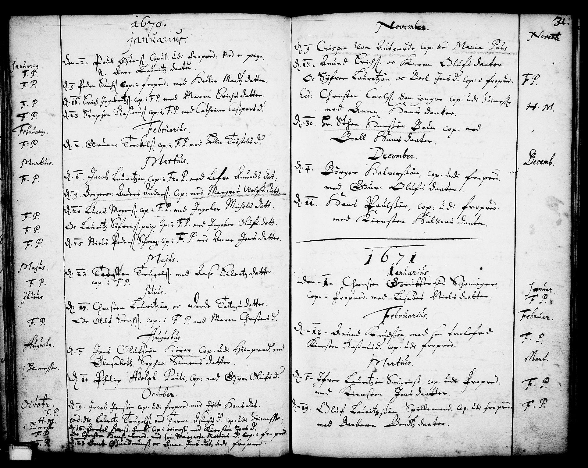 SAKO, Skien kirkebøker, F/Fa/L0001: Ministerialbok nr. 1, 1659-1679, s. 31