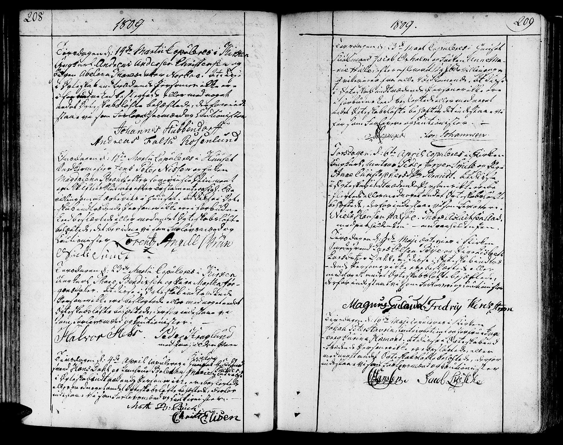 SAT, Ministerialprotokoller, klokkerbøker og fødselsregistre - Sør-Trøndelag, 602/L0105: Ministerialbok nr. 602A03, 1774-1814, s. 208-209