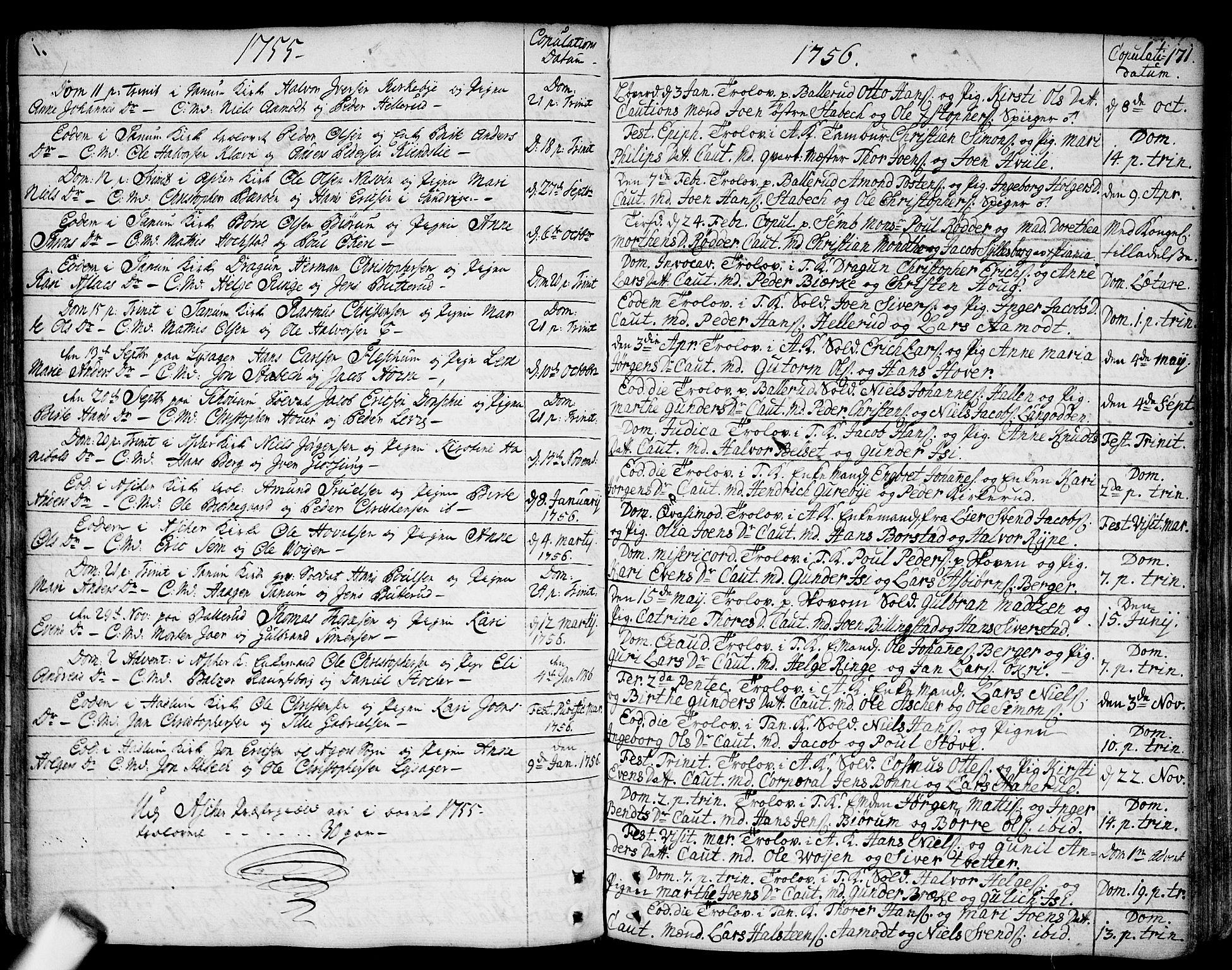 SAO, Asker prestekontor Kirkebøker, F/Fa/L0002: Ministerialbok nr. I 2, 1733-1766, s. 171