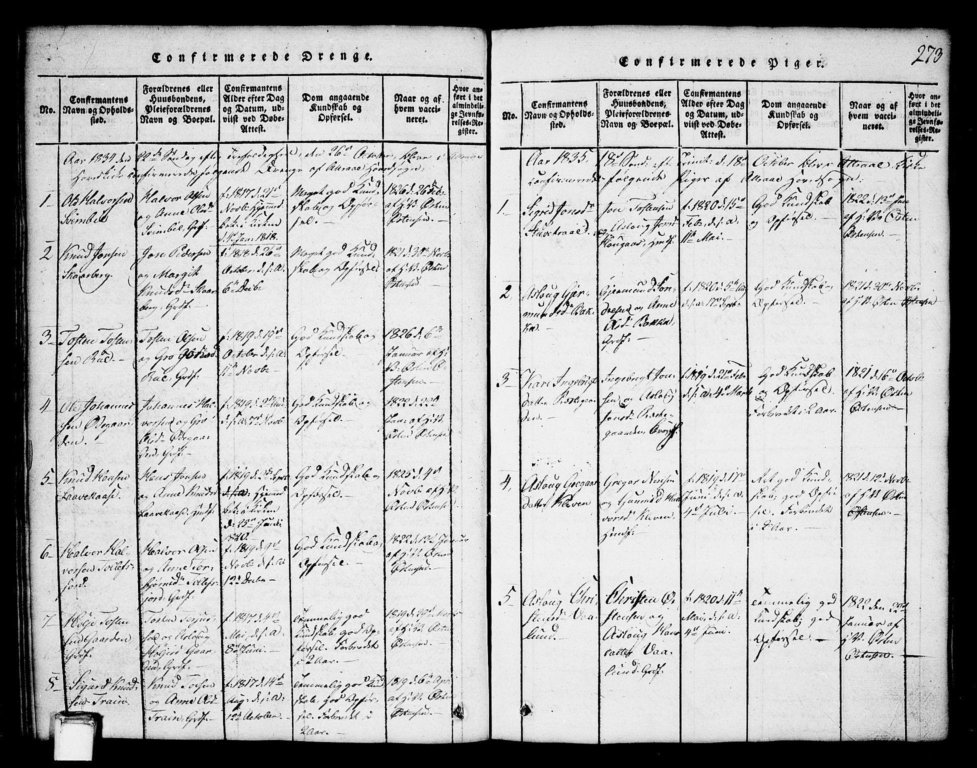 SAKO, Tinn kirkebøker, G/Ga/L0001: Klokkerbok nr. I 1, 1815-1850, s. 273