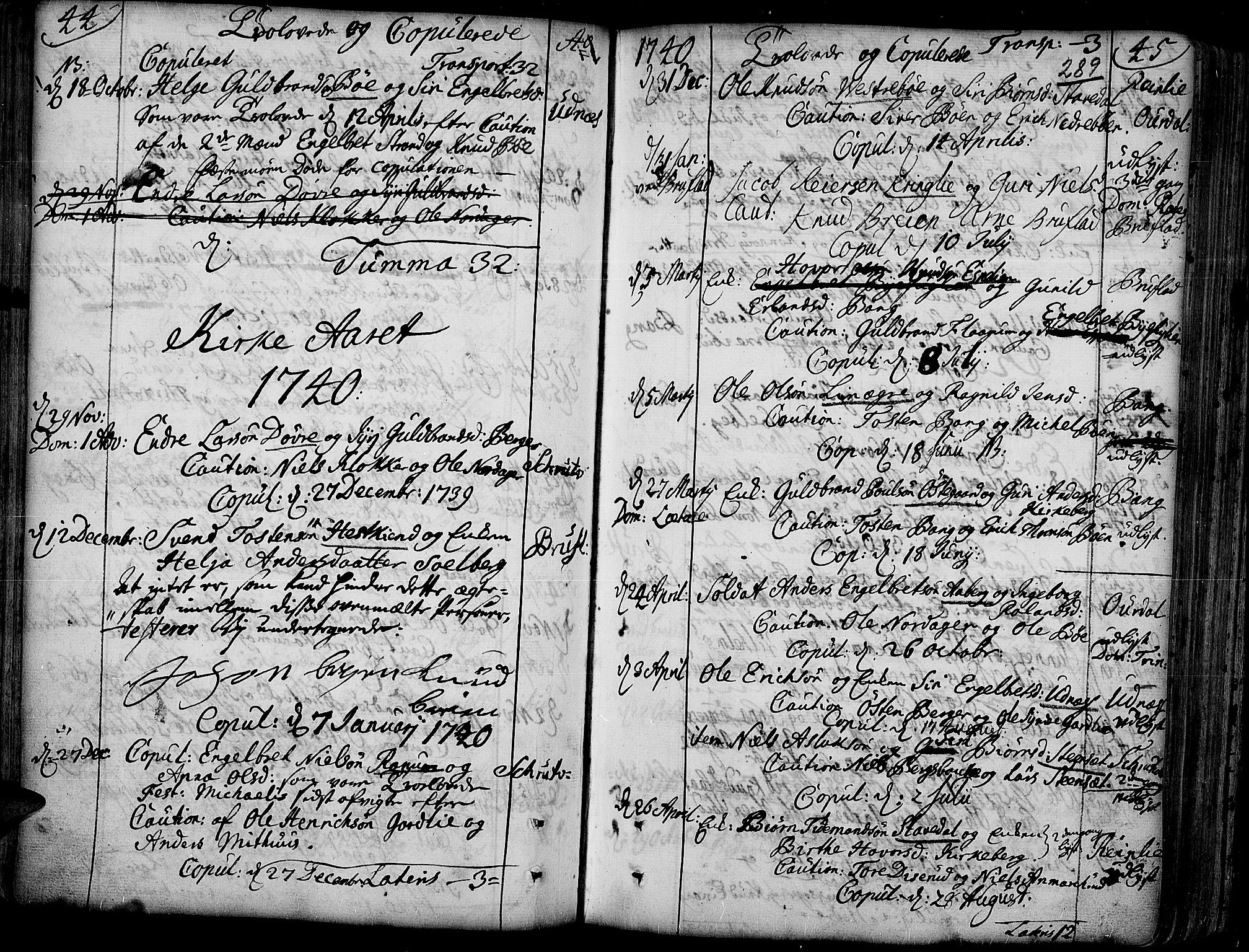 SAH, Aurdal prestekontor, Ministerialbok nr. 4, 1730-1762, s. 44-45