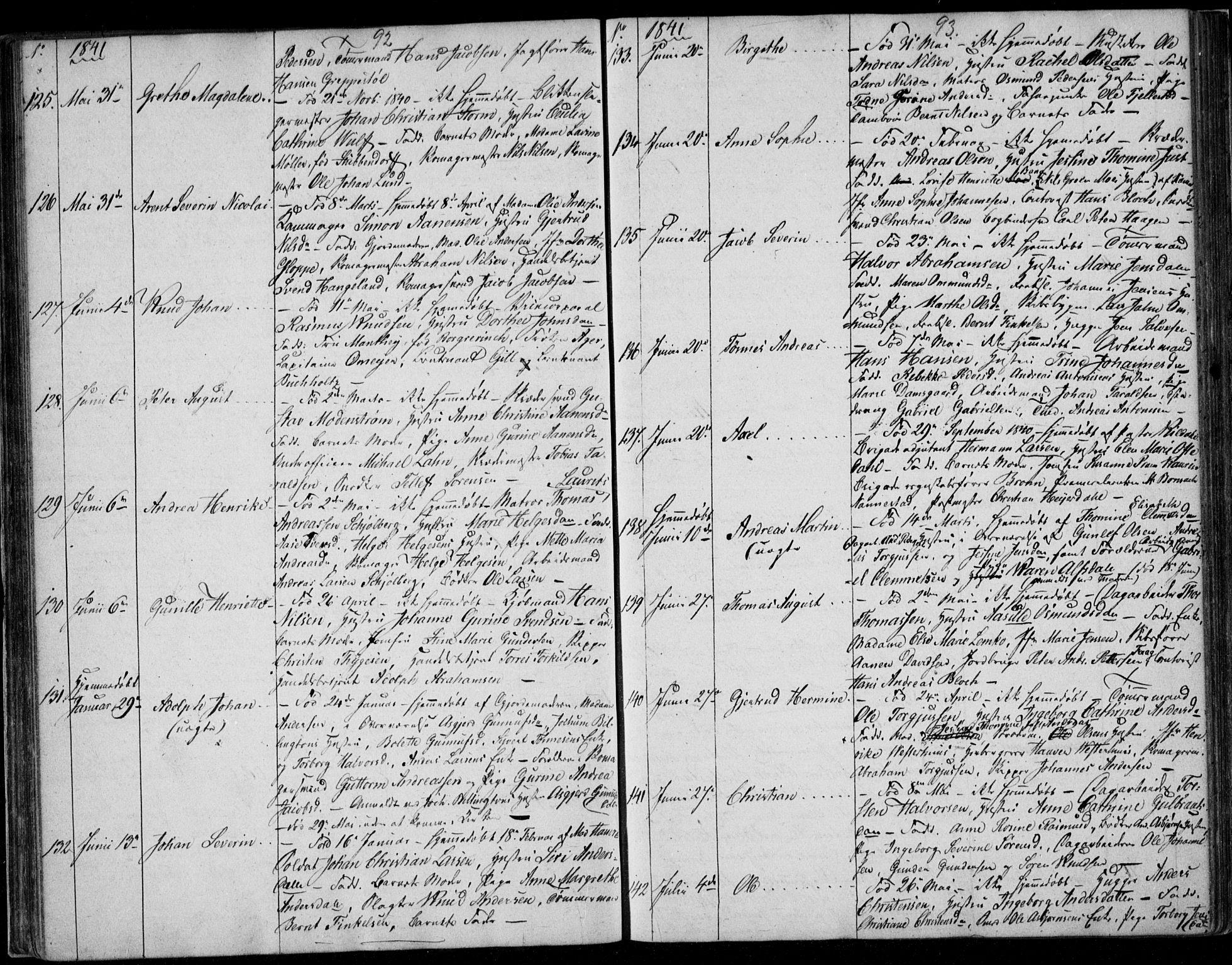 SAK, Kristiansand domprosti, F/Fb/L0009: Klokkerbok nr. B 9, 1838-1843, s. 92-93