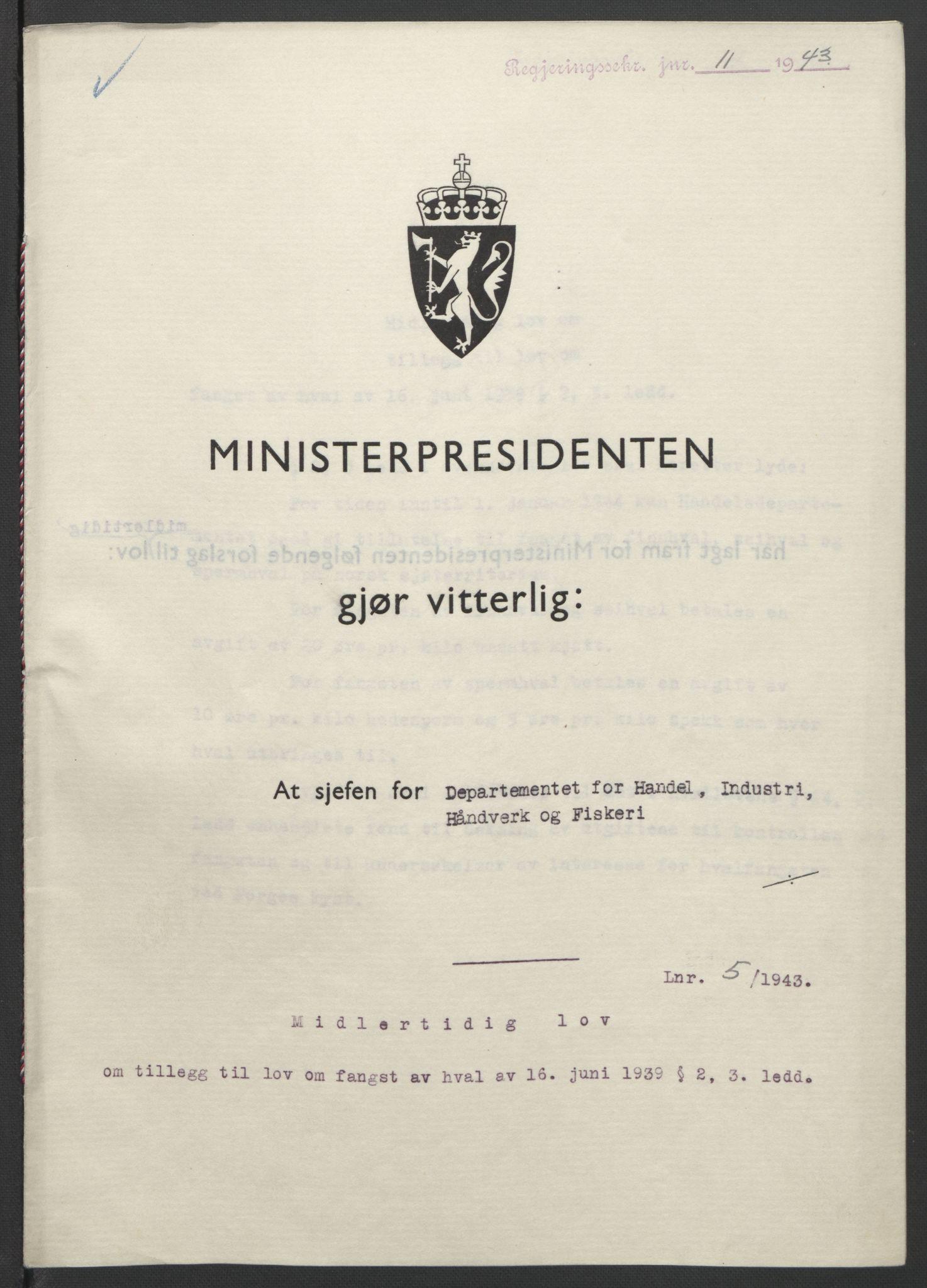 RA, NS-administrasjonen 1940-1945 (Statsrådsekretariatet, de kommisariske statsråder mm), D/Db/L0099: Lover, 1943, s. 22