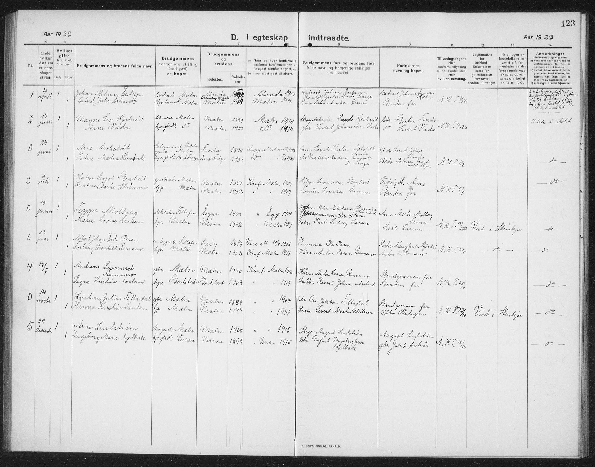 SAT, Ministerialprotokoller, klokkerbøker og fødselsregistre - Nord-Trøndelag, 745/L0434: Klokkerbok nr. 745C03, 1914-1937, s. 123