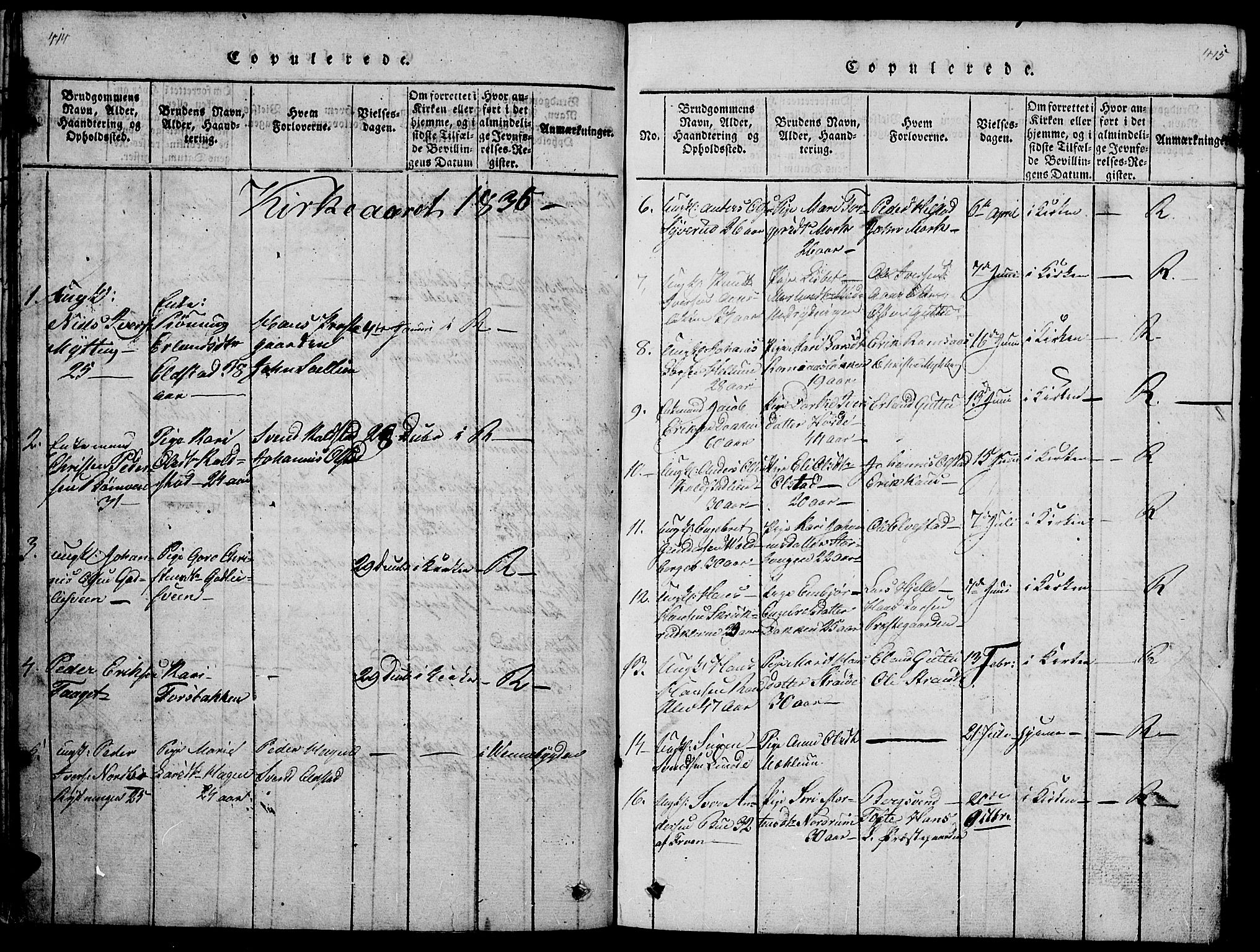 SAH, Ringebu prestekontor, Klokkerbok nr. 1, 1821-1839, s. 414-415