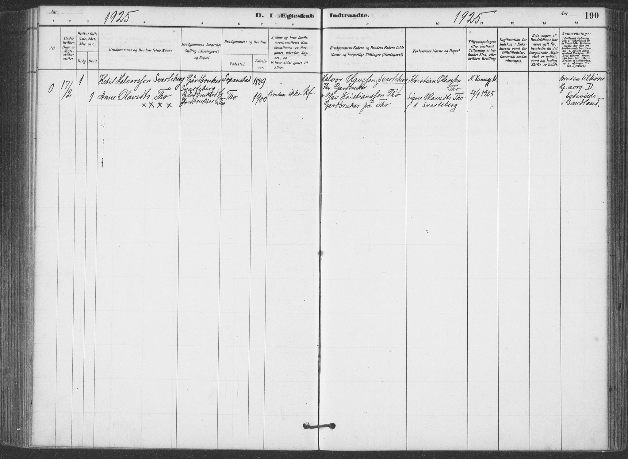SAKO, Hjartdal kirkebøker, F/Fa/L0010: Ministerialbok nr. I 10, 1880-1929, s. 190