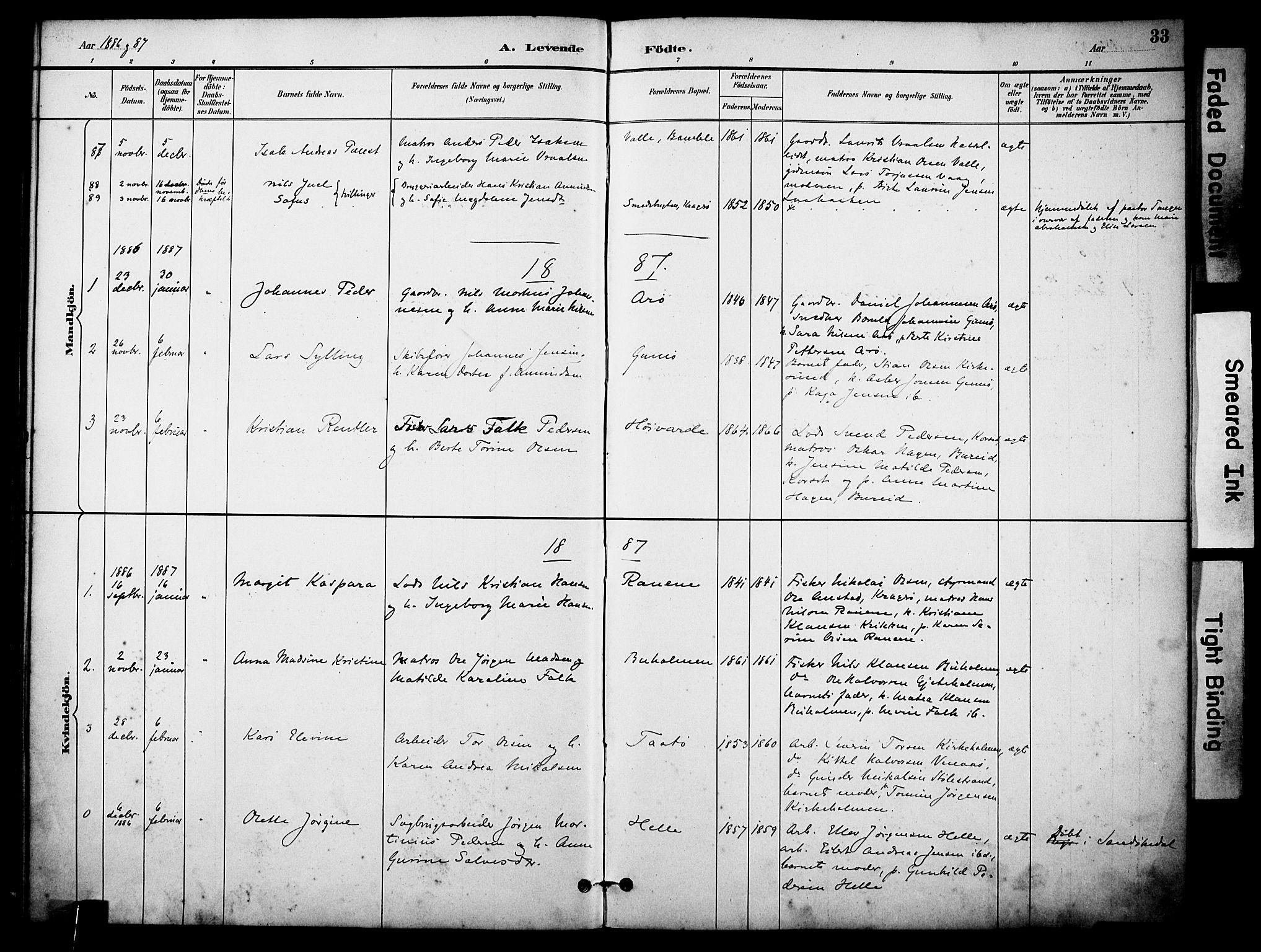 SAKO, Skåtøy kirkebøker, F/Fa/L0002: Ministerialbok nr. I 2, 1884-1899, s. 33
