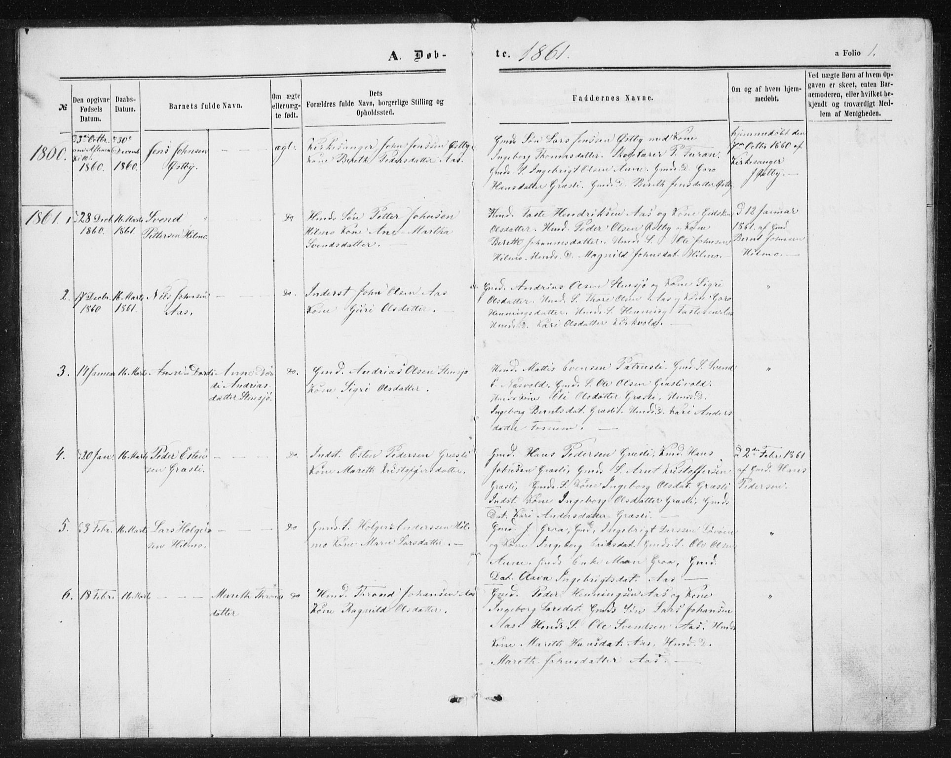 SAT, Ministerialprotokoller, klokkerbøker og fødselsregistre - Sør-Trøndelag, 698/L1166: Klokkerbok nr. 698C03, 1861-1887, s. 1