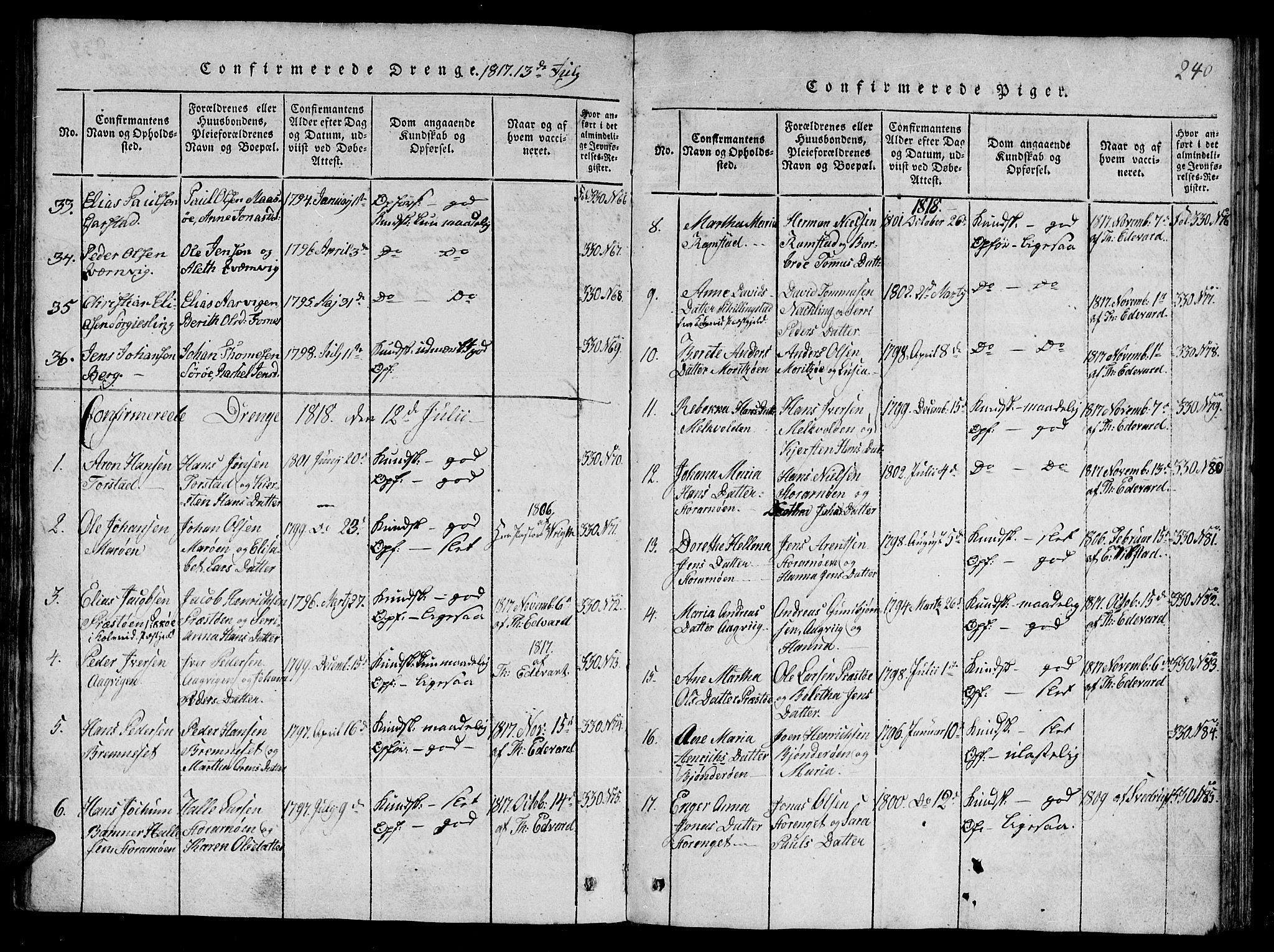 SAT, Ministerialprotokoller, klokkerbøker og fødselsregistre - Nord-Trøndelag, 784/L0667: Ministerialbok nr. 784A03 /1, 1816-1829, s. 240