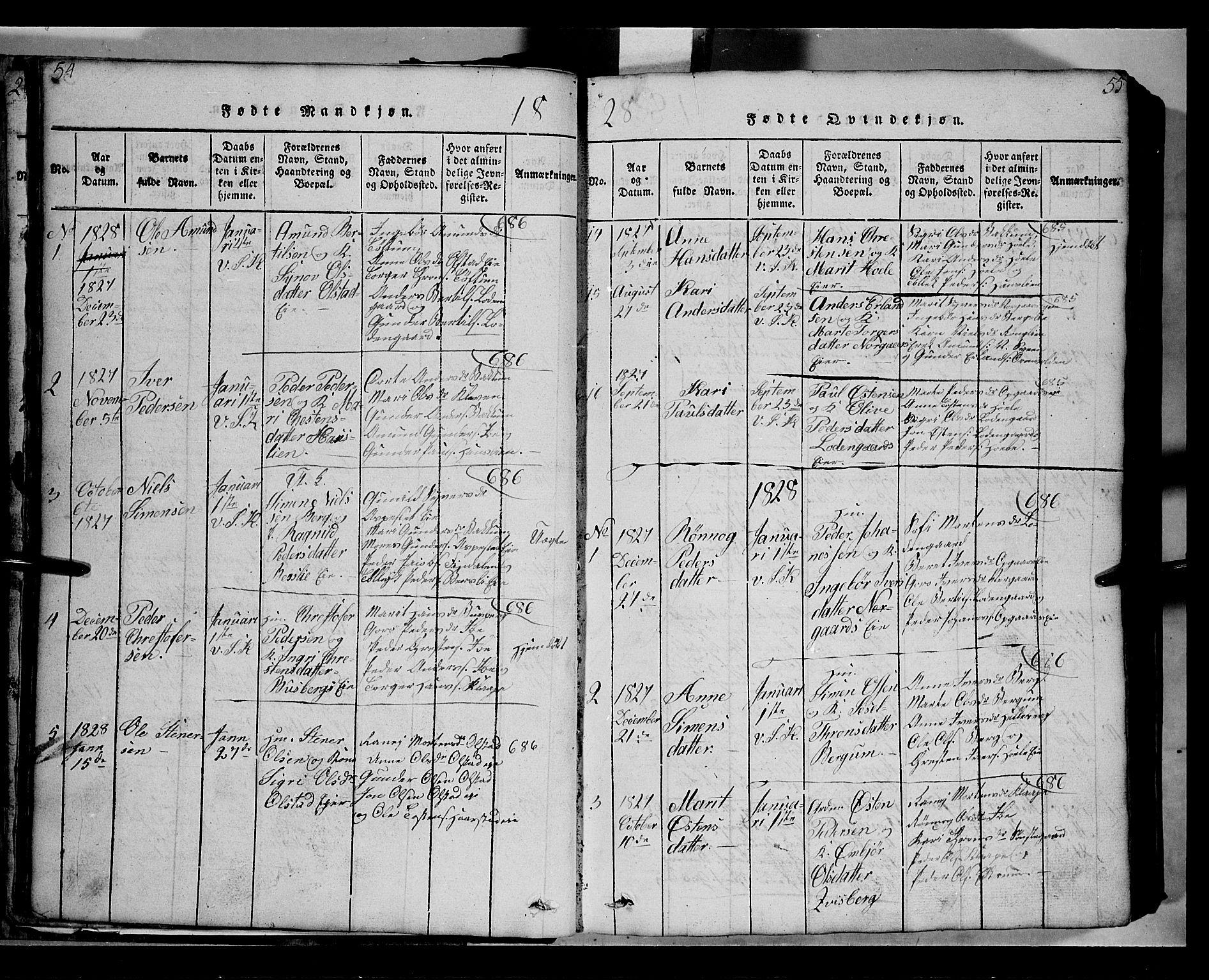 SAH, Gausdal prestekontor, Klokkerbok nr. 2, 1818-1874, s. 54-55