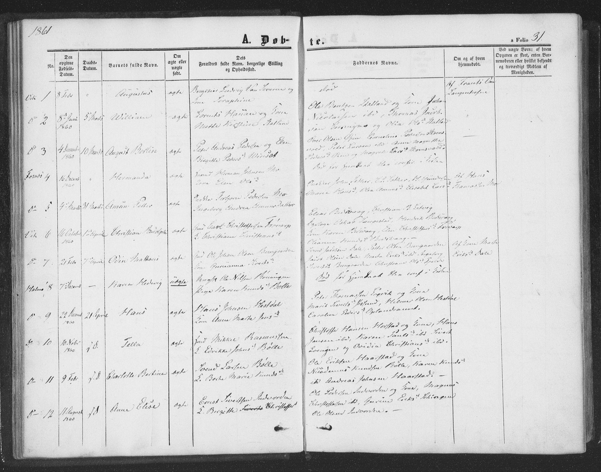 SAT, Ministerialprotokoller, klokkerbøker og fødselsregistre - Nord-Trøndelag, 773/L0615: Ministerialbok nr. 773A06, 1857-1870, s. 31