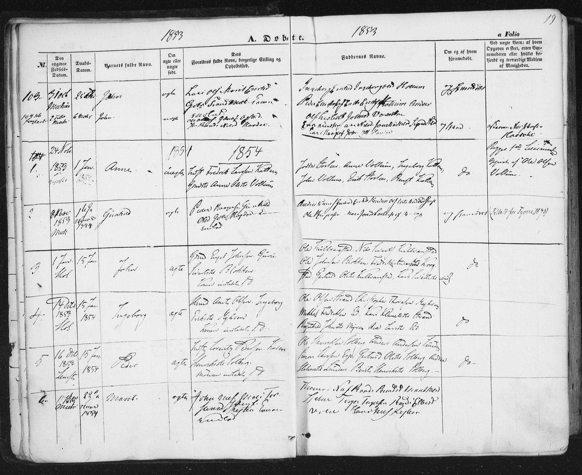 SAT, Ministerialprotokoller, klokkerbøker og fødselsregistre - Sør-Trøndelag, 691/L1076: Ministerialbok nr. 691A08, 1852-1861, s. 19