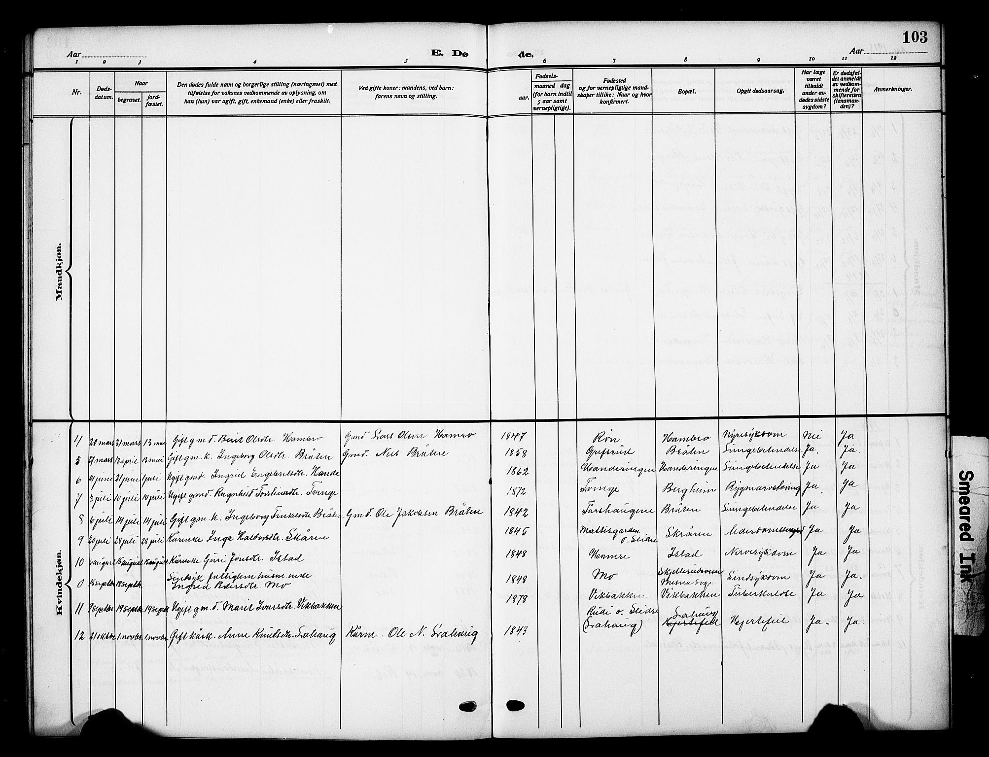 SAH, Vestre Slidre prestekontor, Klokkerbok nr. 7, 1909-1930, s. 103