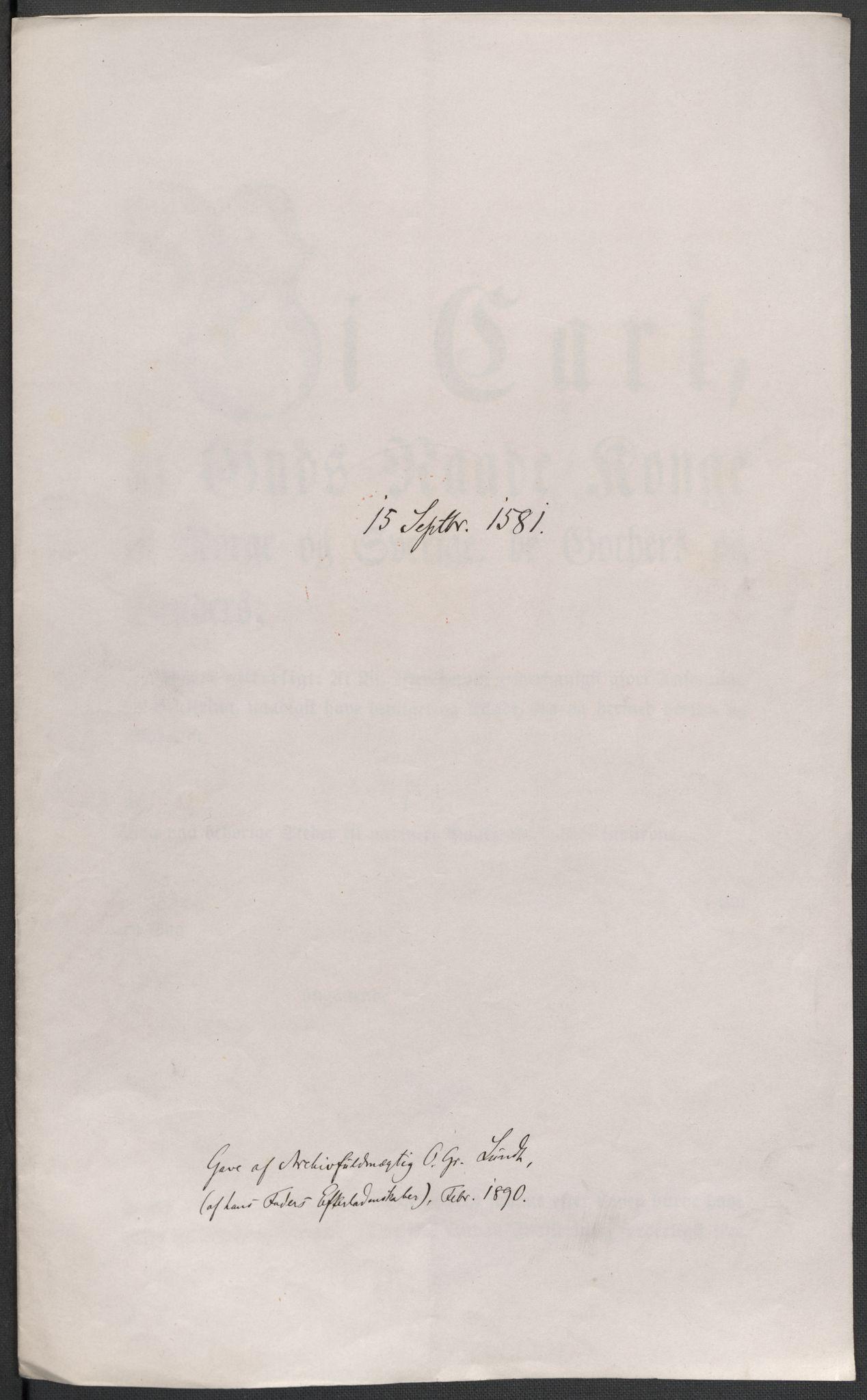 RA, Riksarkivets diplomsamling, F02/L0083: Dokumenter, 1581, s. 32