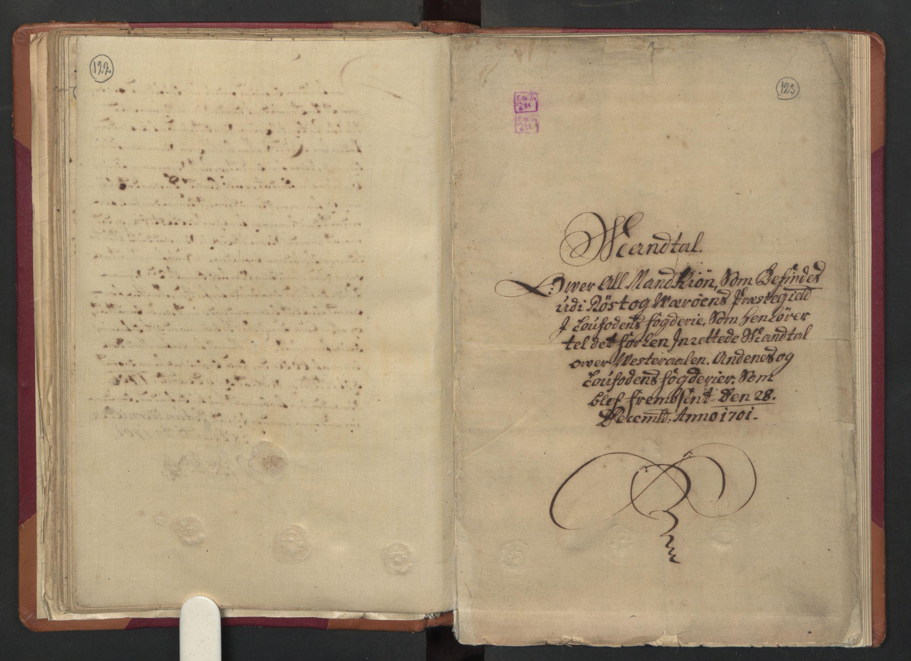 RA, Manntallet 1701, nr. 18: Vesterålen, Andenes og Lofoten fogderi, 1701, s. 122-123