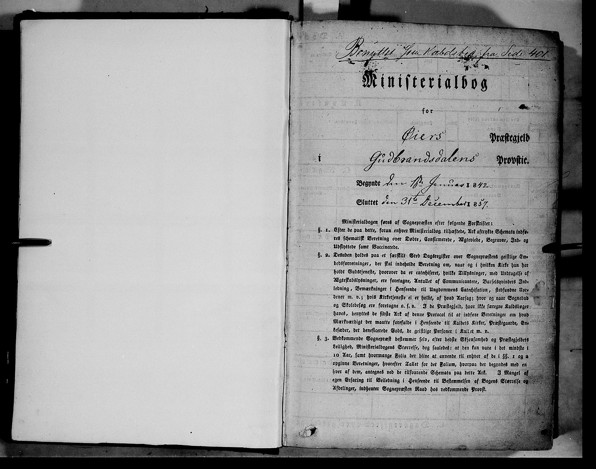 SAH, Øyer prestekontor, Ministerialbok nr. 5, 1842-1857