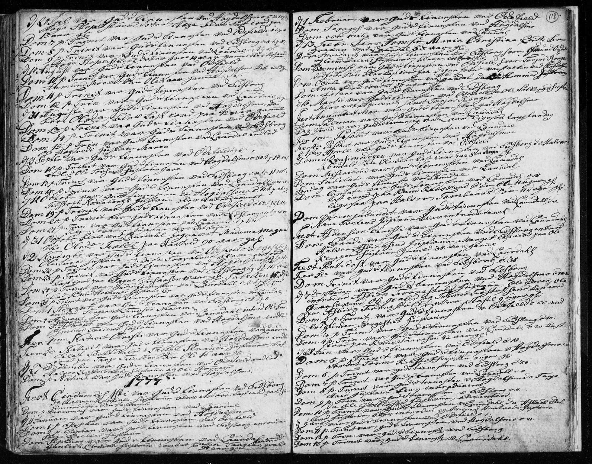 SAKO, Lårdal kirkebøker, F/Fa/L0003: Ministerialbok nr. I 3, 1754-1790, s. 118