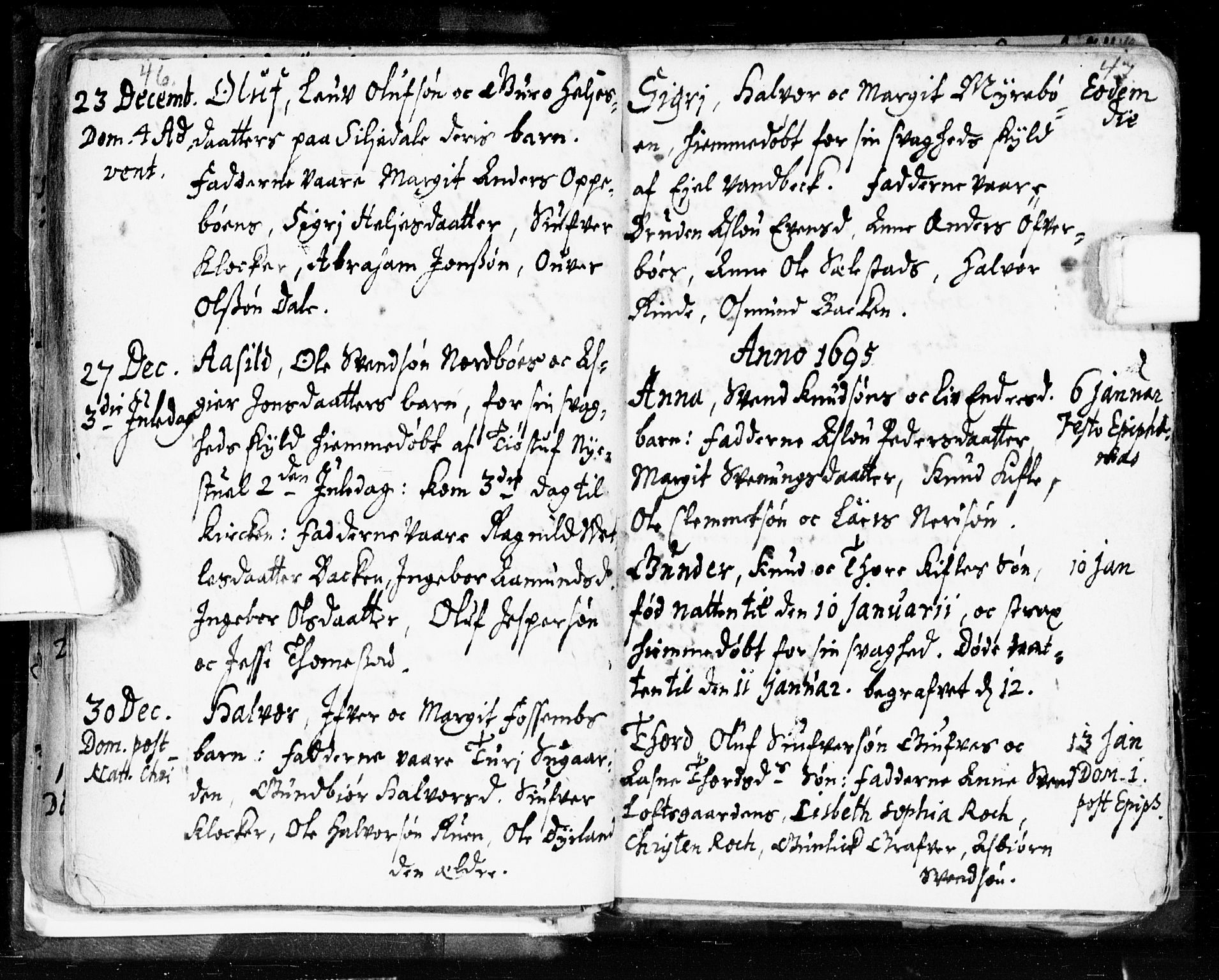 SAKO, Seljord kirkebøker, F/Fa/L0002: Ministerialbok nr. I 2, 1689-1713, s. 46-47