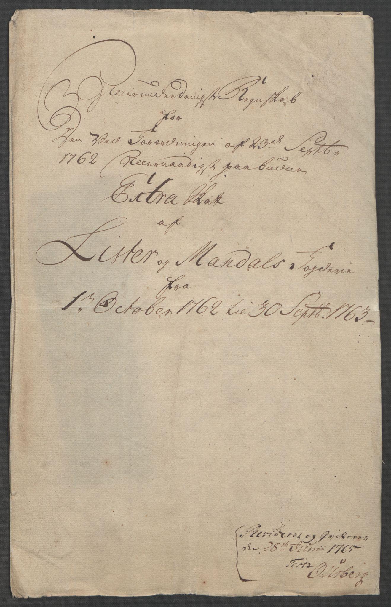 RA, Rentekammeret inntil 1814, Reviderte regnskaper, Fogderegnskap, R45/L2704: Ekstraskatten Lista og Mandal, 1762-1768, s. 4