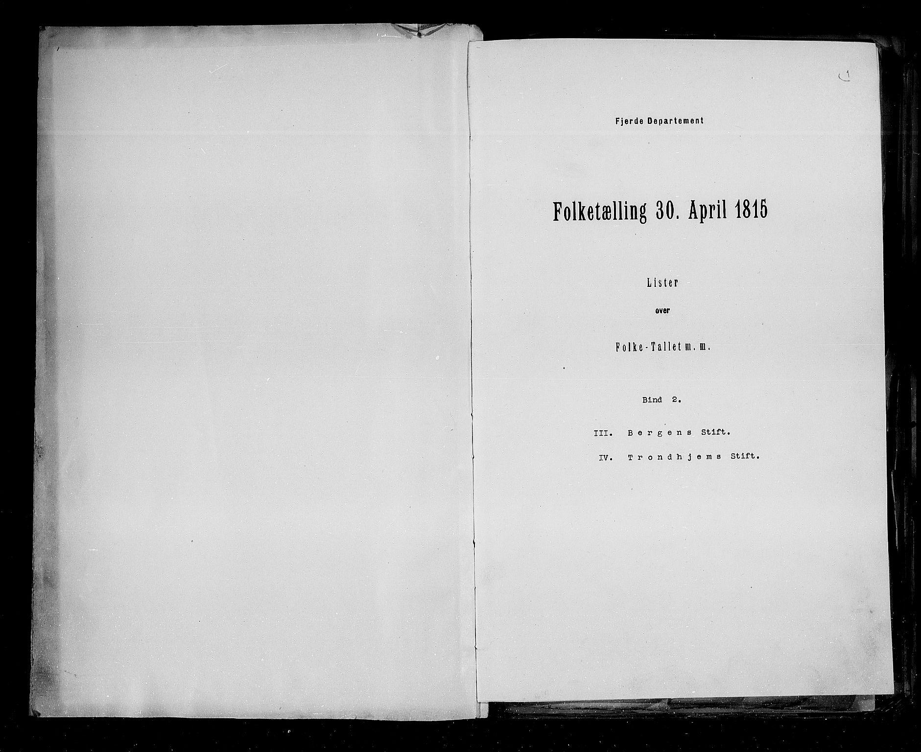 RA, Folketellingen 1815, bind 2: Bergen stift og Trondheim stift, 1815, s. 2
