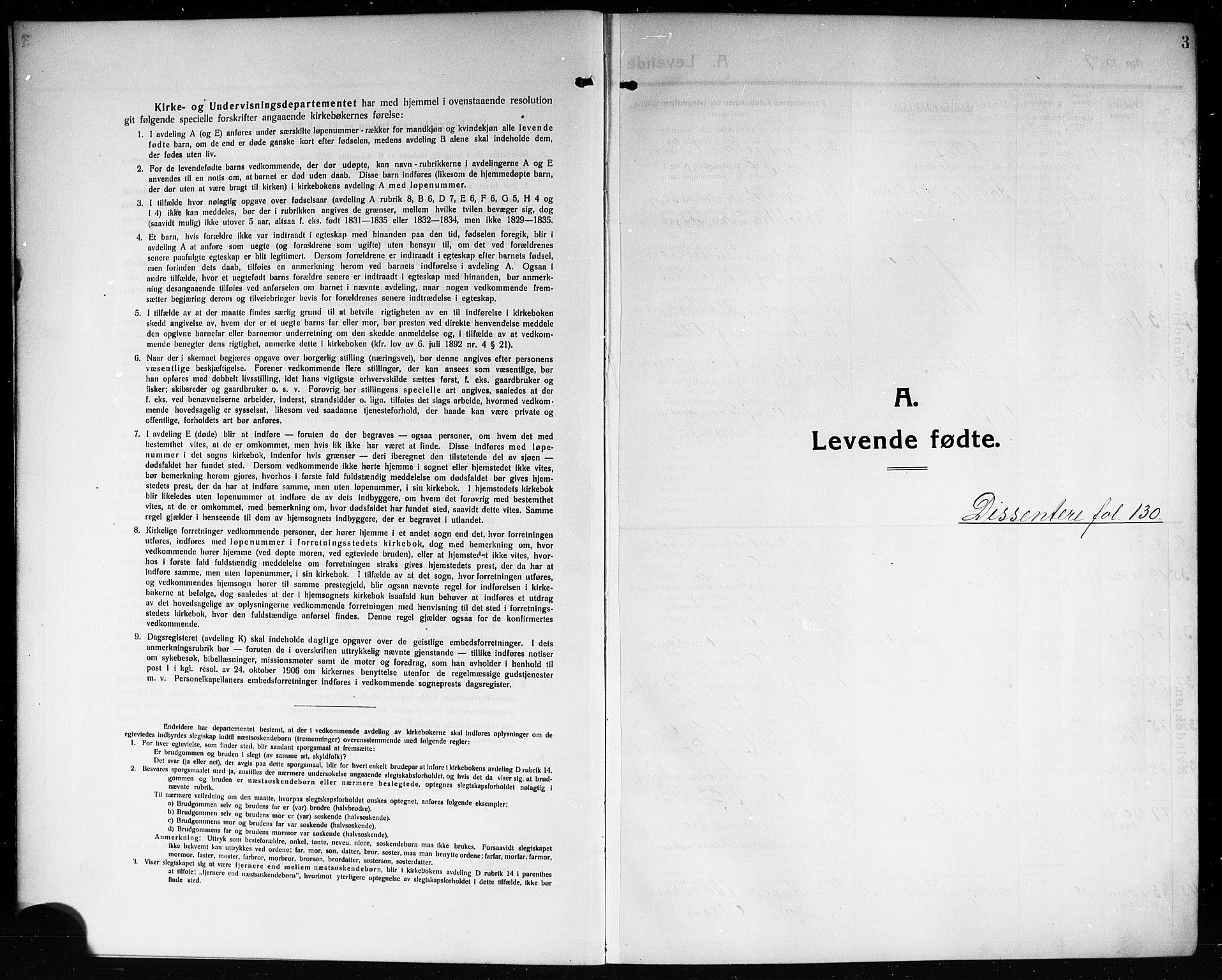 SAKO, Solum kirkebøker, G/Ga/L0009: Klokkerbok nr. I 9, 1909-1922, s. 3