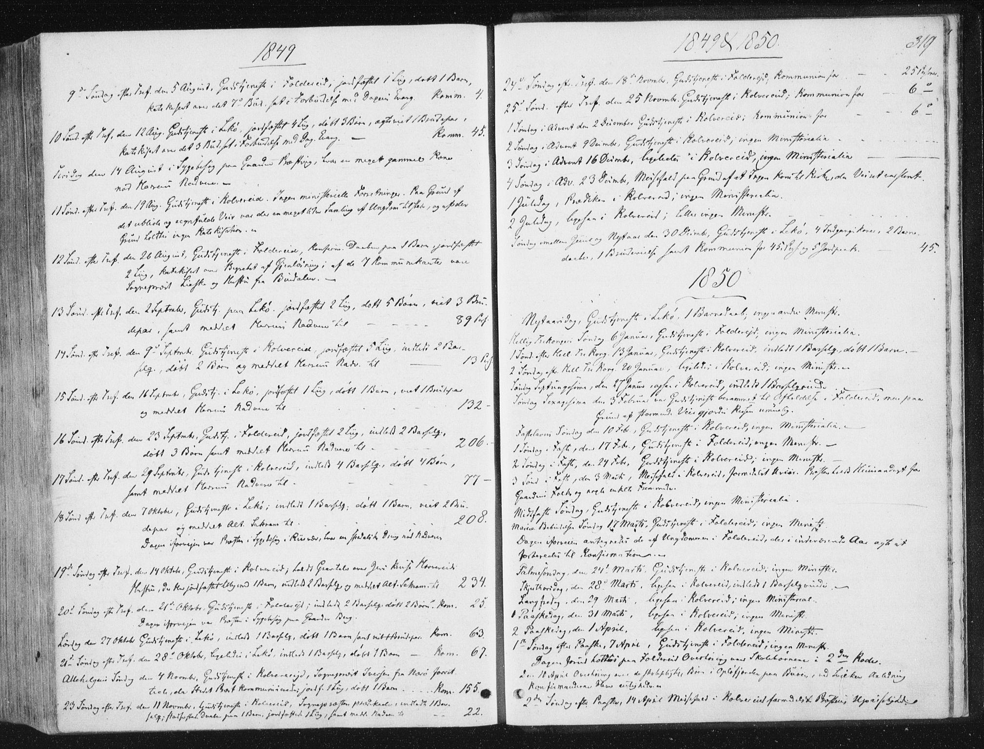 SAT, Ministerialprotokoller, klokkerbøker og fødselsregistre - Nord-Trøndelag, 780/L0640: Ministerialbok nr. 780A05, 1845-1856, s. 319