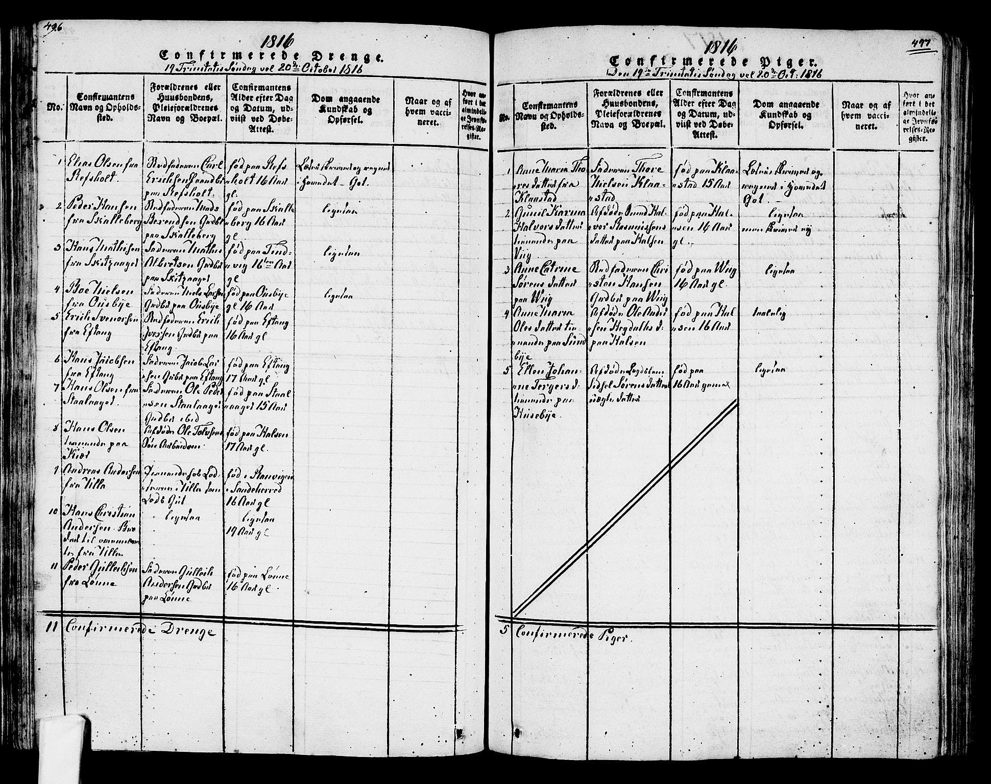 SAKO, Tjølling kirkebøker, F/Fa/L0005: Ministerialbok nr. 5, 1814-1836, s. 496-497