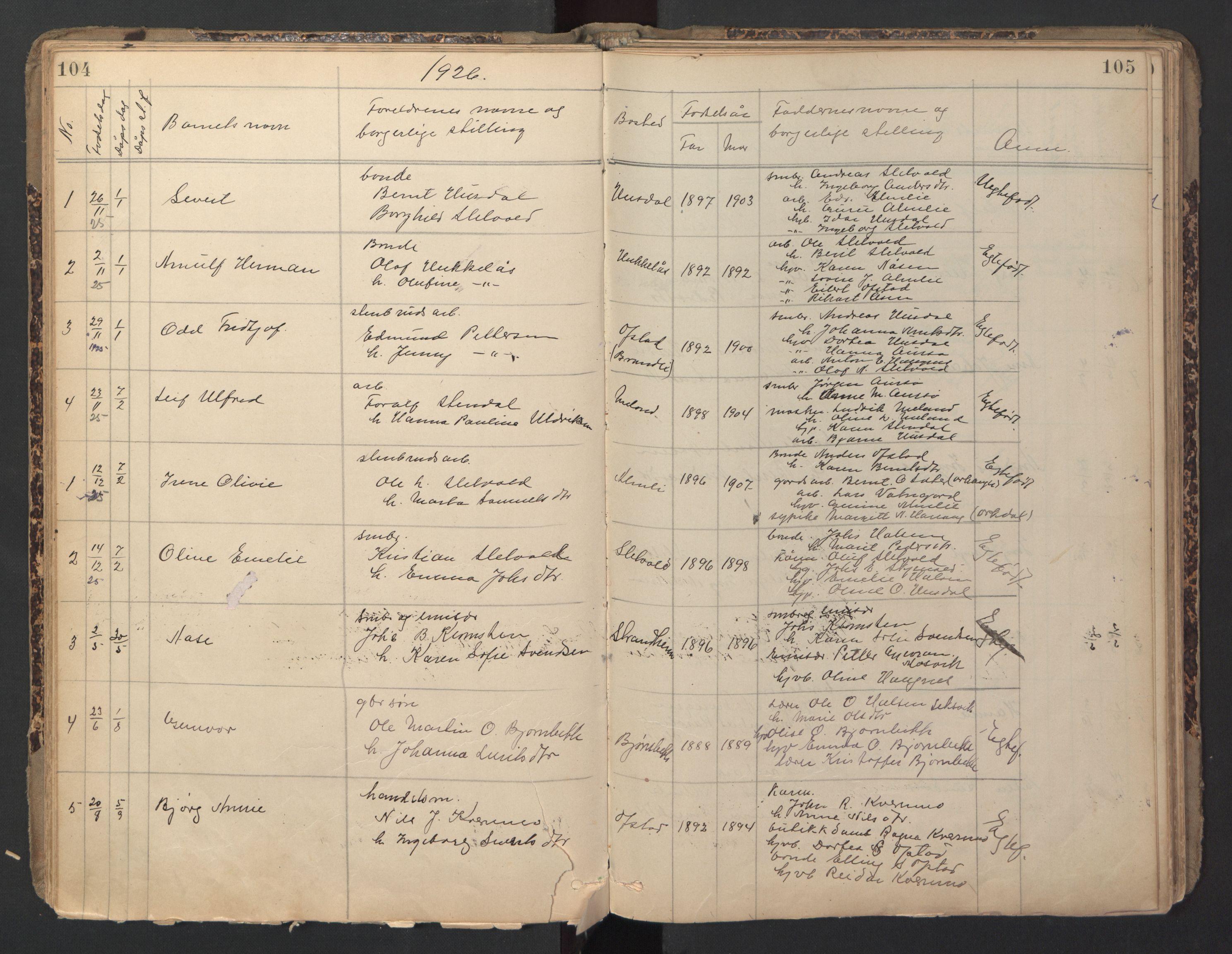 SAT, Ministerialprotokoller, klokkerbøker og fødselsregistre - Sør-Trøndelag, 670/L0837: Klokkerbok nr. 670C01, 1905-1946, s. 104-105