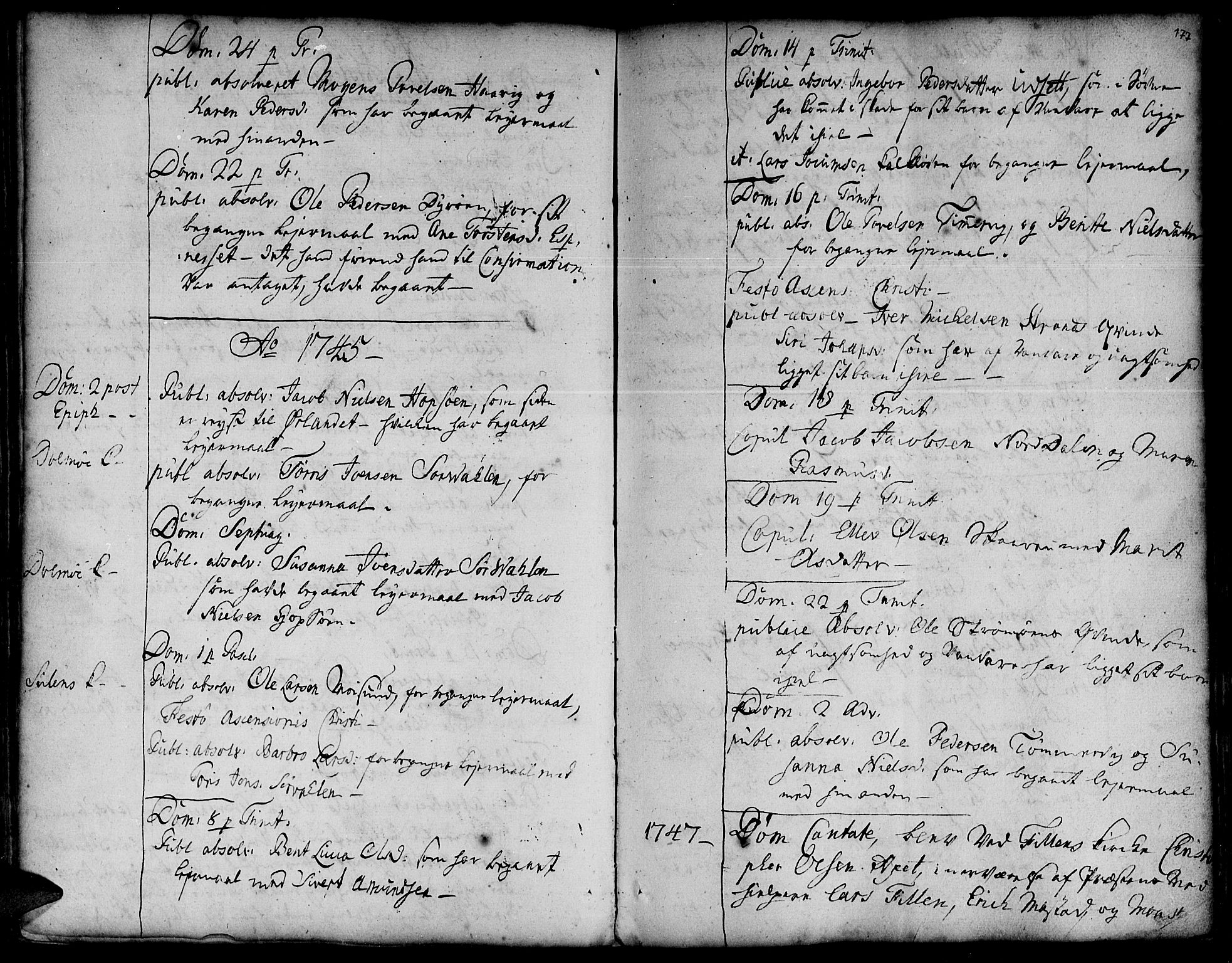 SAT, Ministerialprotokoller, klokkerbøker og fødselsregistre - Sør-Trøndelag, 634/L0525: Ministerialbok nr. 634A01, 1736-1775, s. 177
