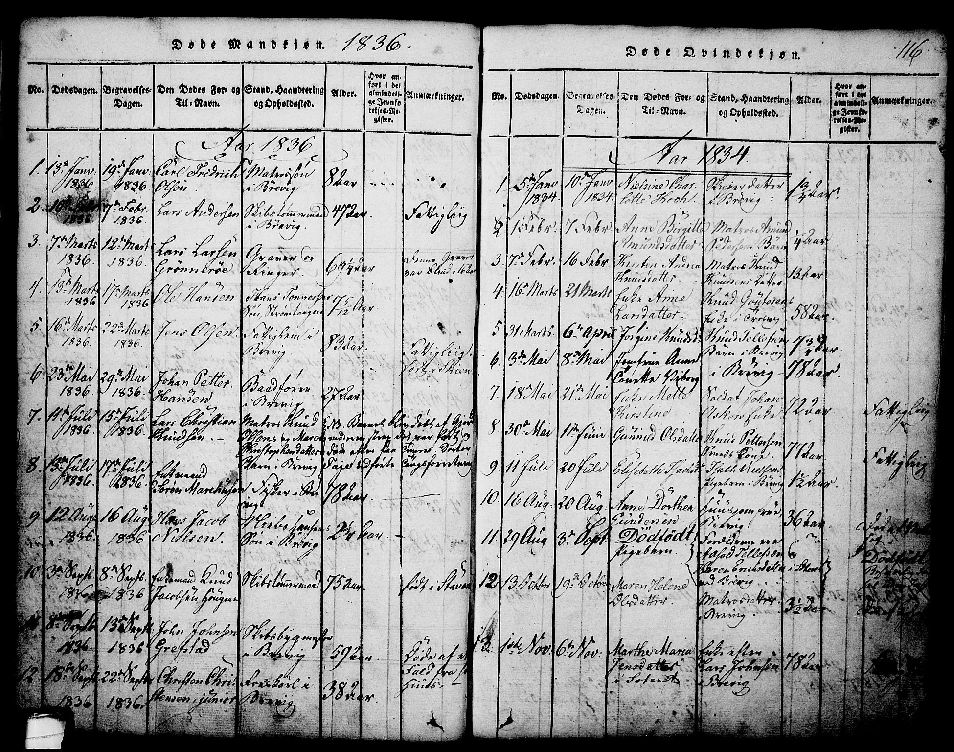 SAKO, Brevik kirkebøker, G/Ga/L0001: Klokkerbok nr. 1, 1814-1845, s. 116