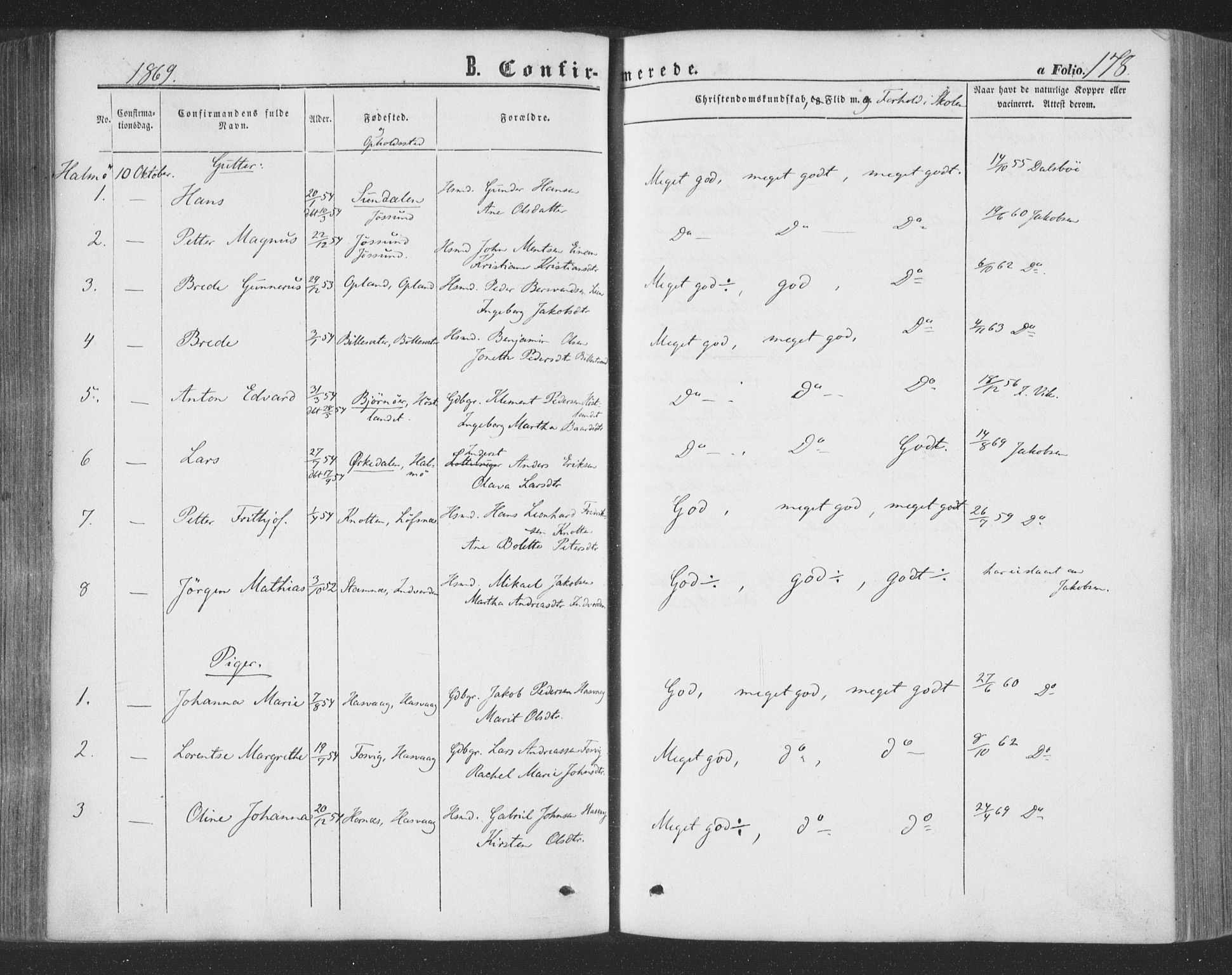 SAT, Ministerialprotokoller, klokkerbøker og fødselsregistre - Nord-Trøndelag, 773/L0615: Ministerialbok nr. 773A06, 1857-1870, s. 178